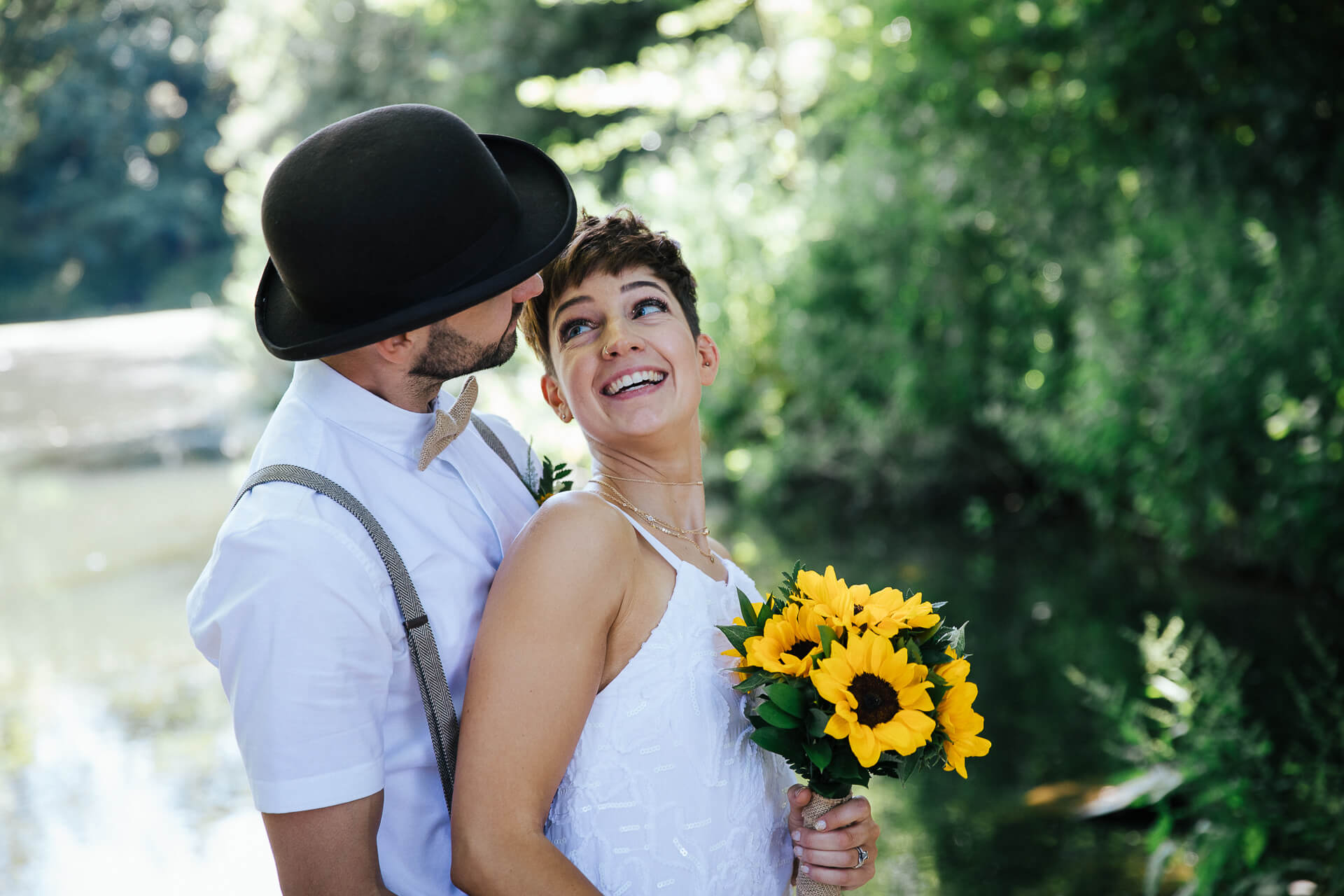 Smiling, relaxed couple on their wedding day, at Love2yurt, Wedding Photography Kent