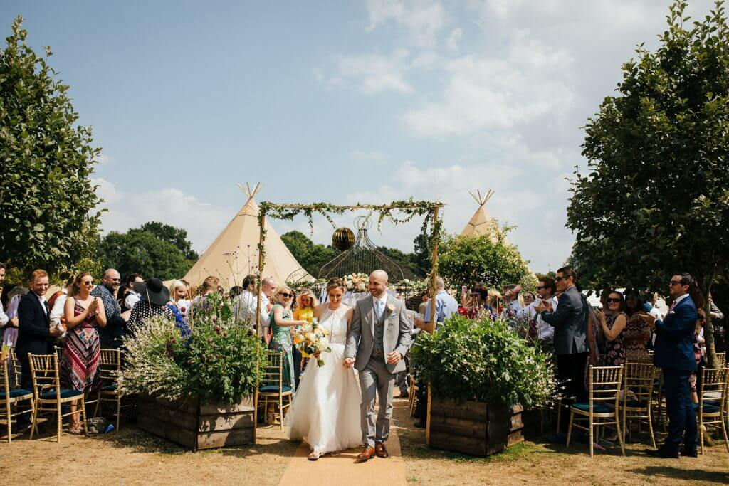 Garden Tipi Wedding of Kaye and Chris in Waterford, Hertfordshire