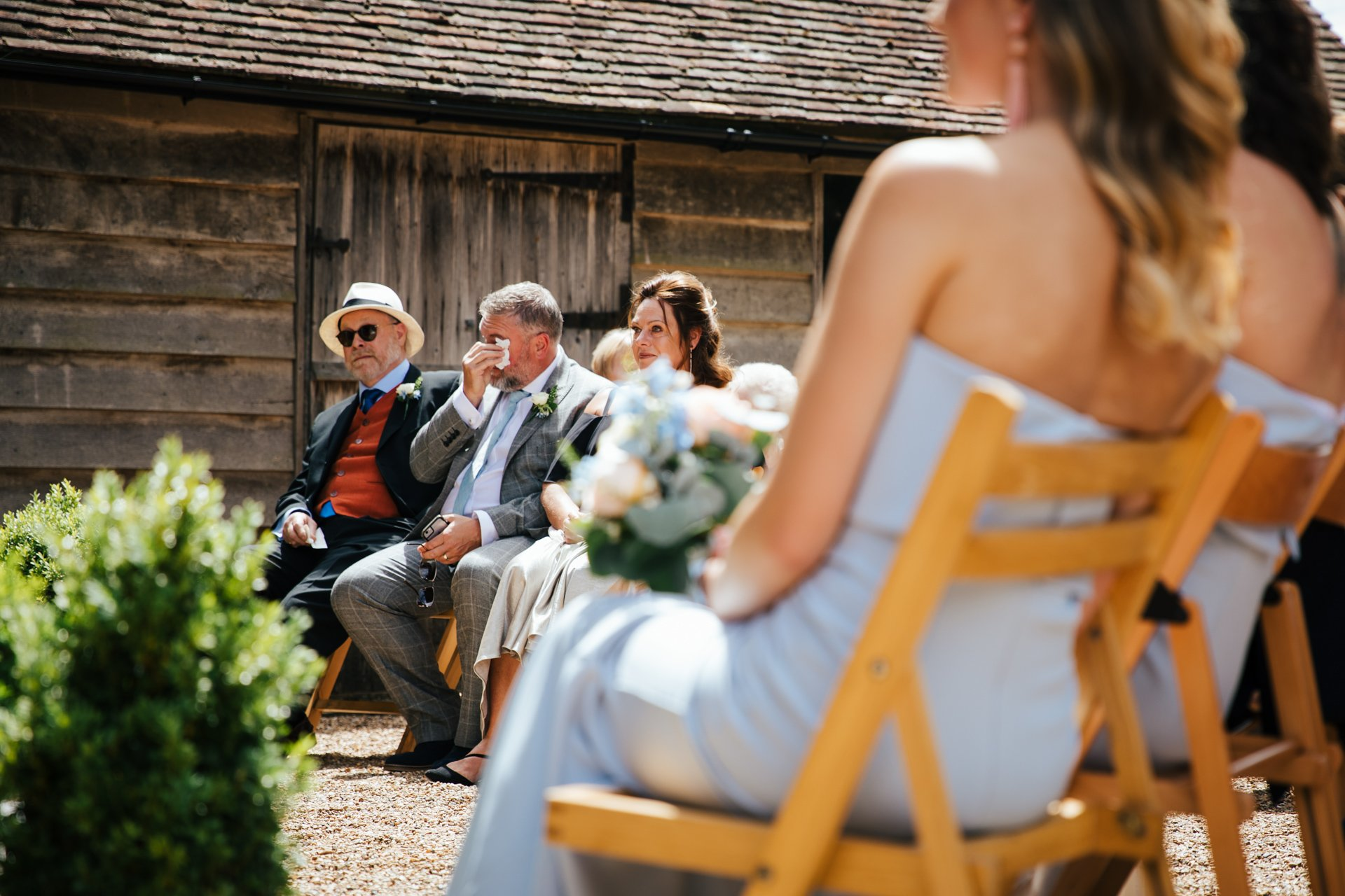 Father of the Bride emotional during ceremony