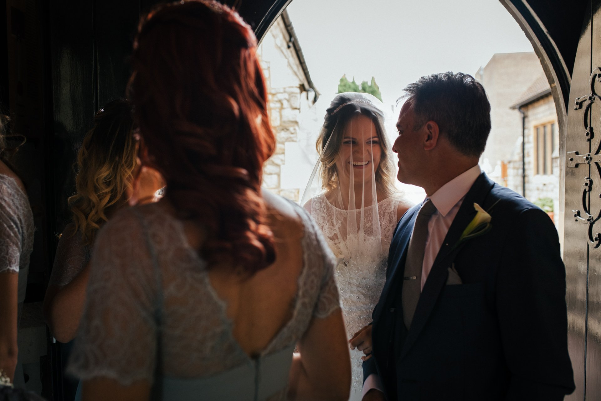 Father a daughter exchange smile before ceremony
