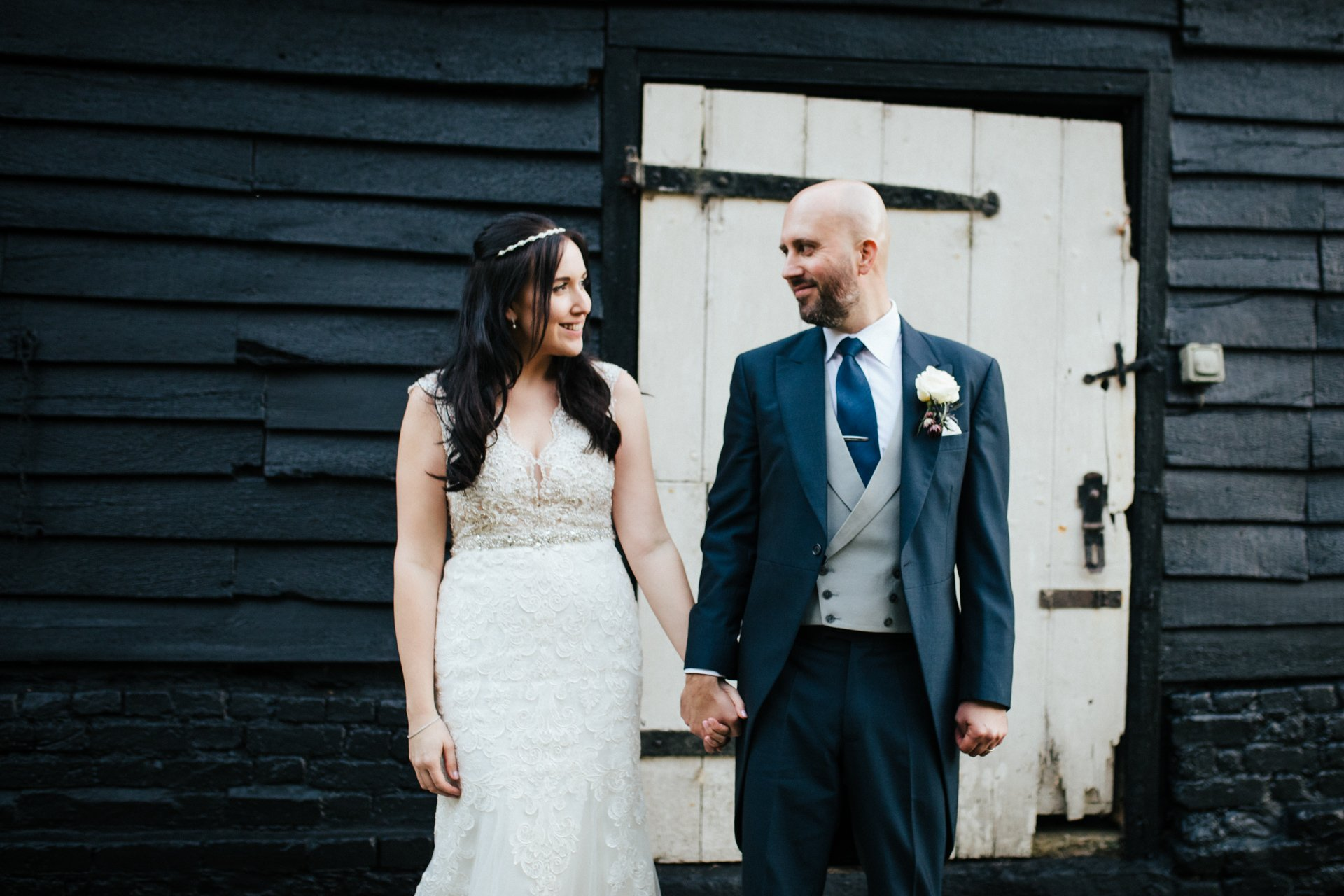 Bride and Groom looking at each other at Barn Brasserie, Wedding Photography
