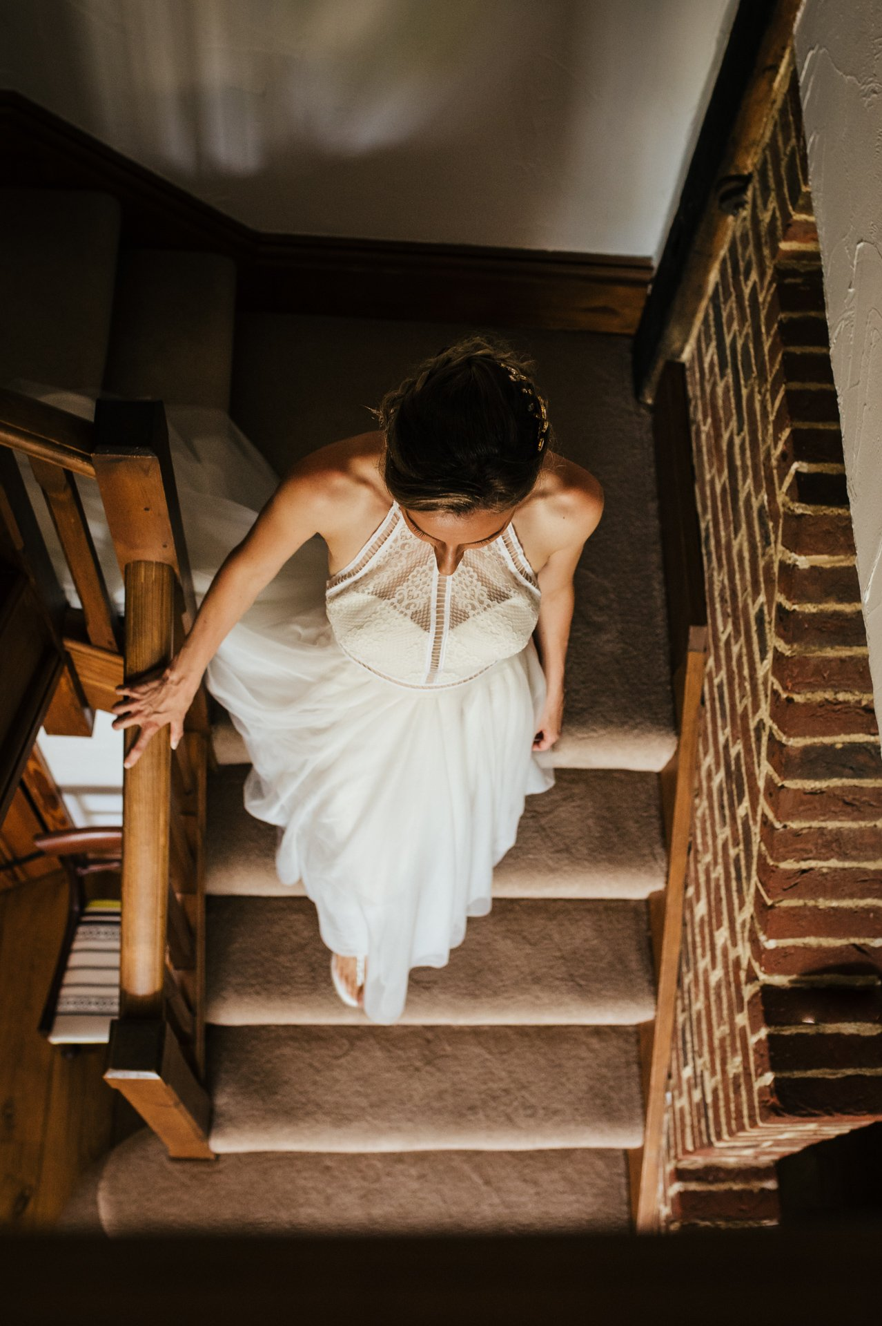 Beautiful bride depends a staircase about to get married
