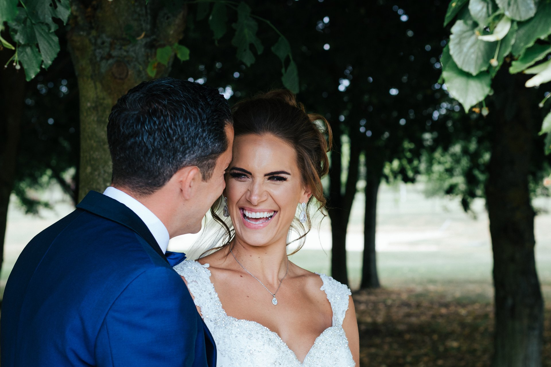 Smiling, relaxed couple on their wedding day, at Stock Brook Country Club, Wedding Photography Kent