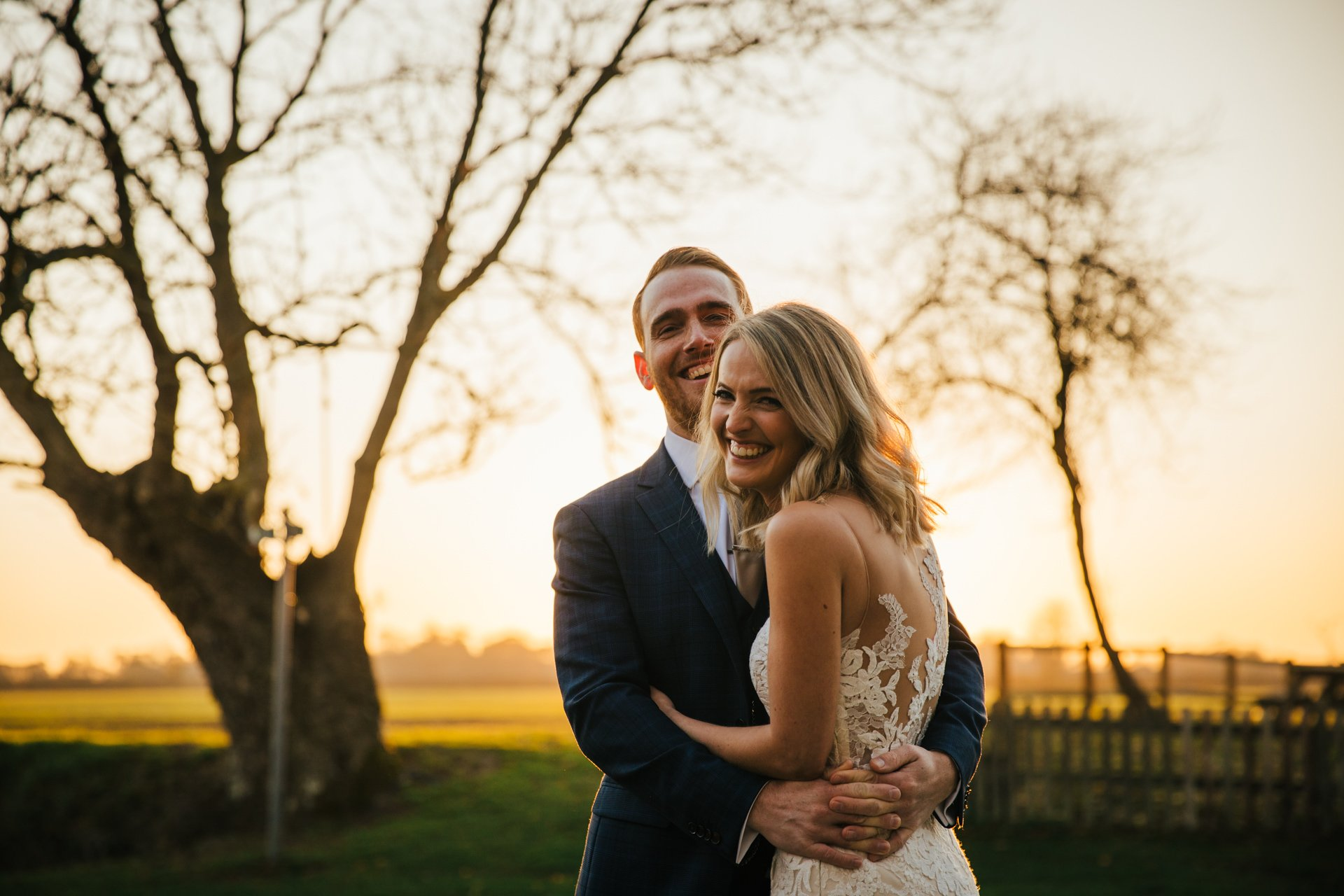 Smiling, relaxed couple on their wedding day, at Granary Estates, Wedding Photography Kent