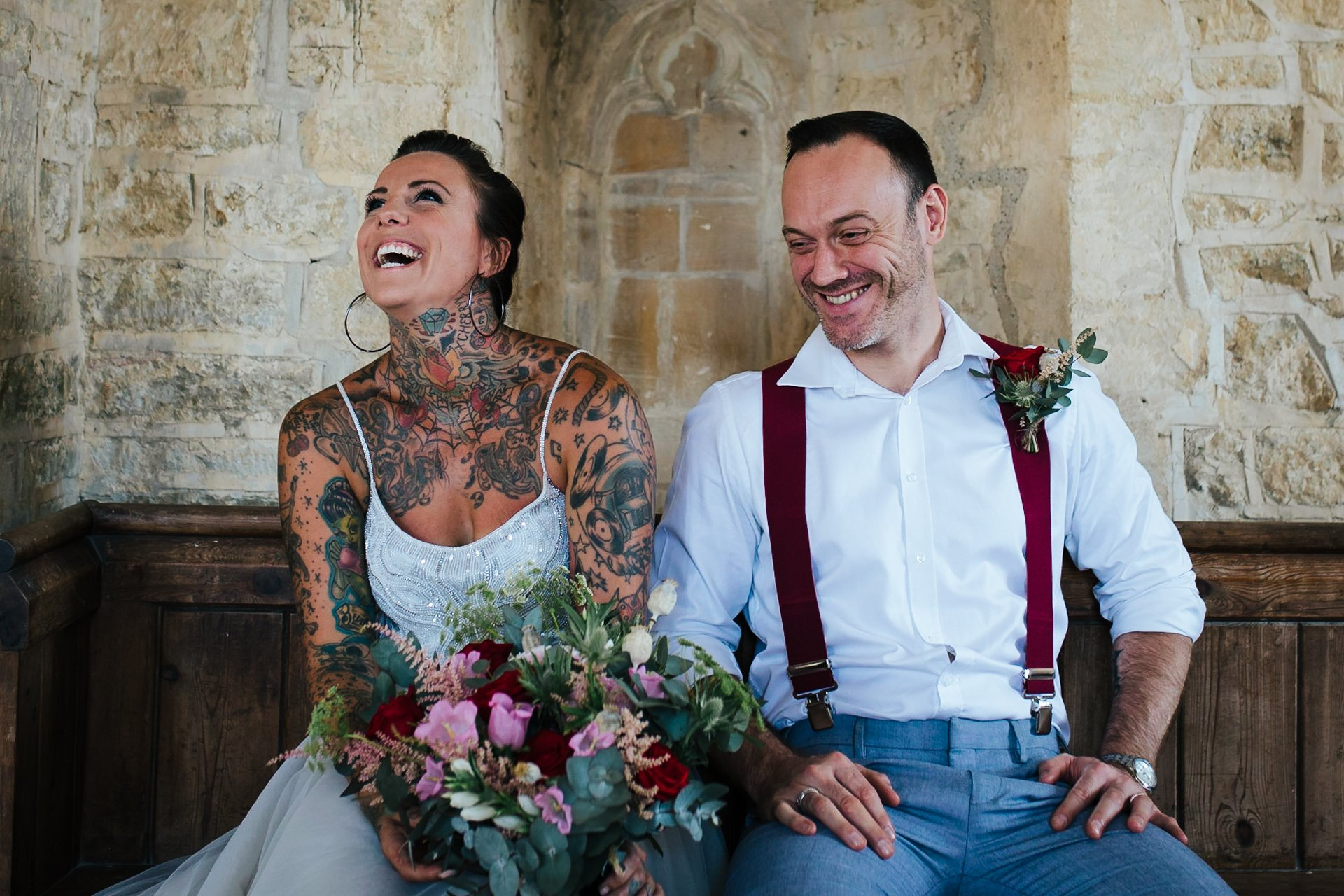 Smiling, relaxed couple on their wedding day, at Furtho Manor Farm, Wedding Photography Kent