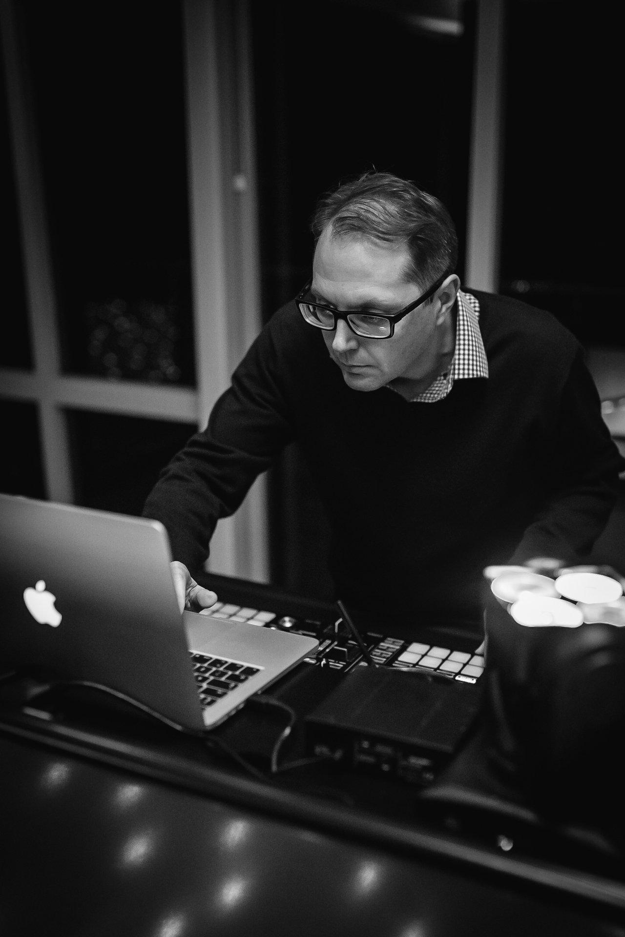 DJ at his decks at Kent Wedding Venue