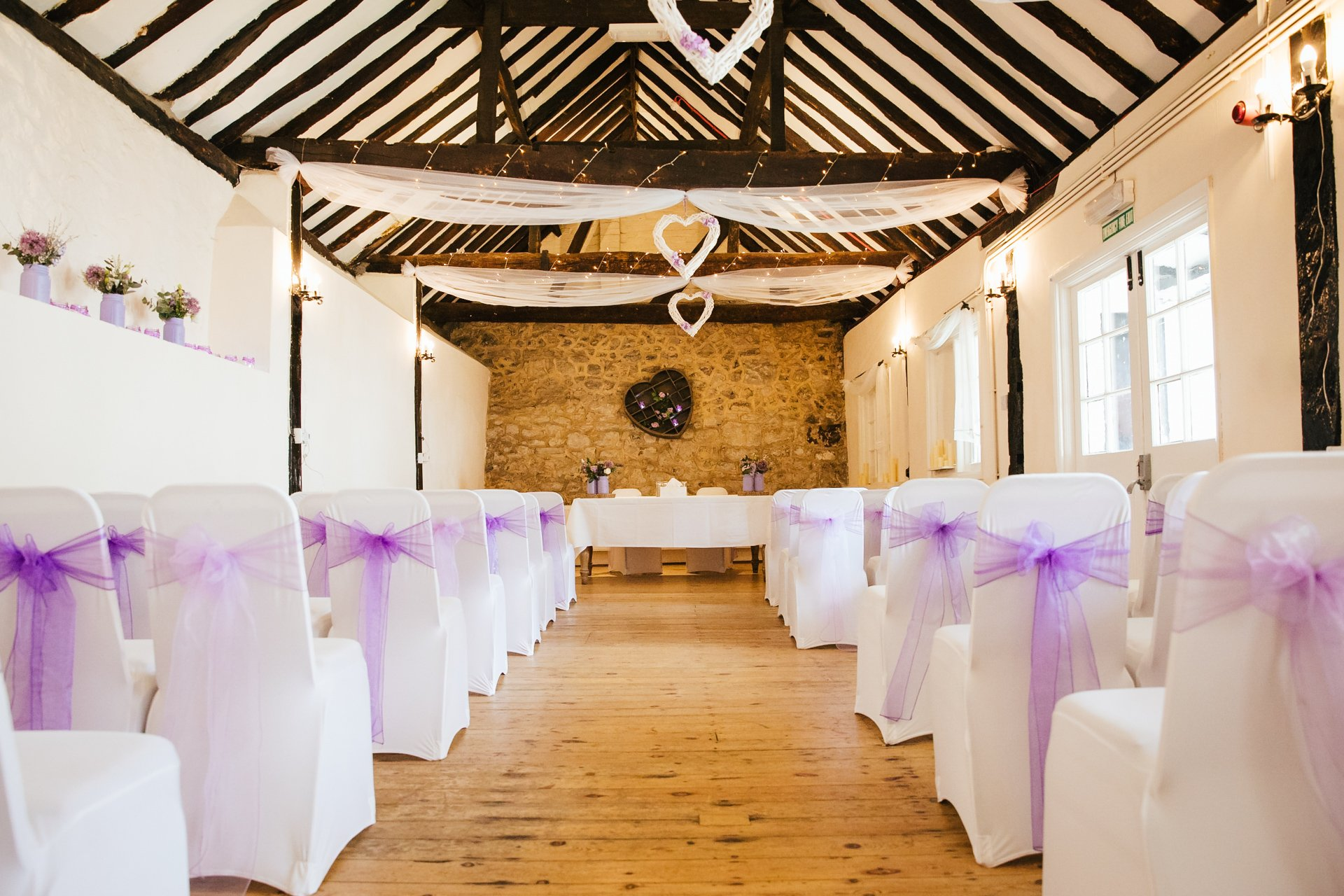 Stunning Wedding set up at The Buttery, ceremony room at The Bull Hotel, Wrotham, Kent
