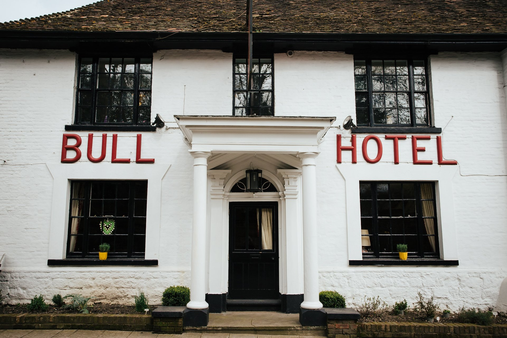 Front view of Kent wedding venue, The Bull Hotel in Wrotham