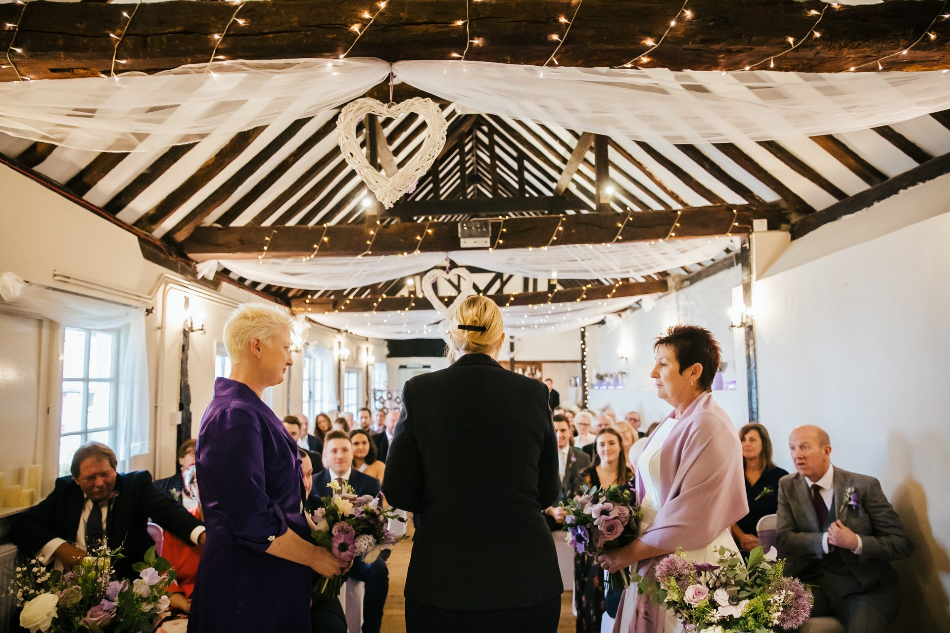 Wedding ceremony of two brides at The Bull Wrotham Kent