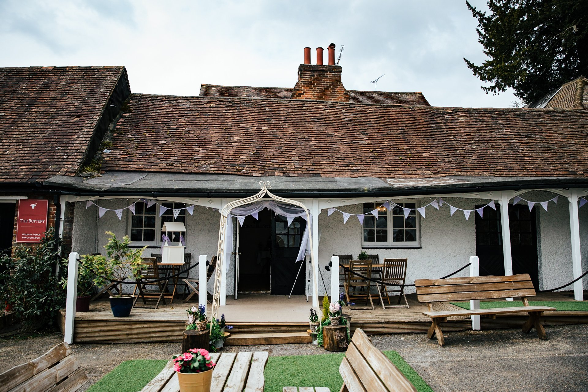 Front view of the The Buttery, ceremony room at Kent Wedding Venue, The Bull Hotel Wrotham