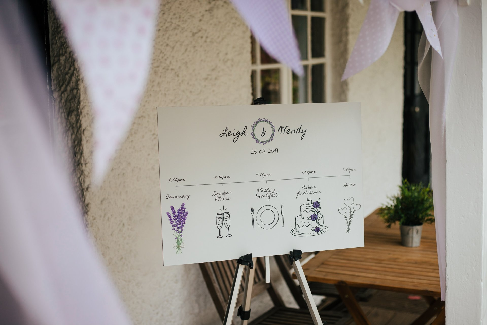 The seating plan of brides at their wedding at The Bull Hotel in Kent
