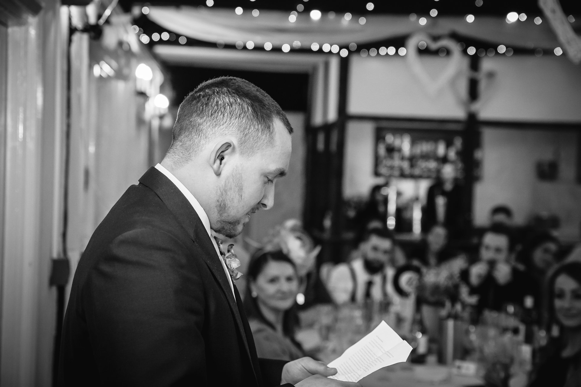 Brides son making a speech after their wedding at The Bull Hotel Wrotham