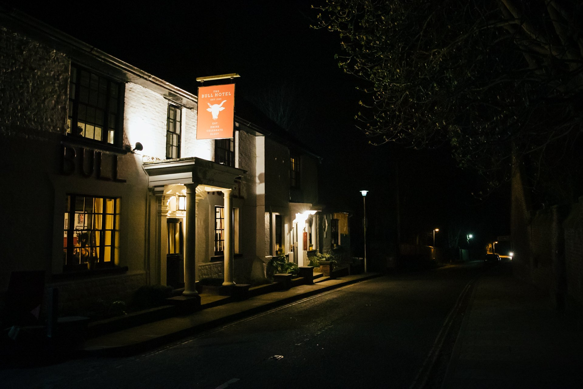 Front of Kent Wedding Venue, The Bull Hotel, Wrotham illuminated at night