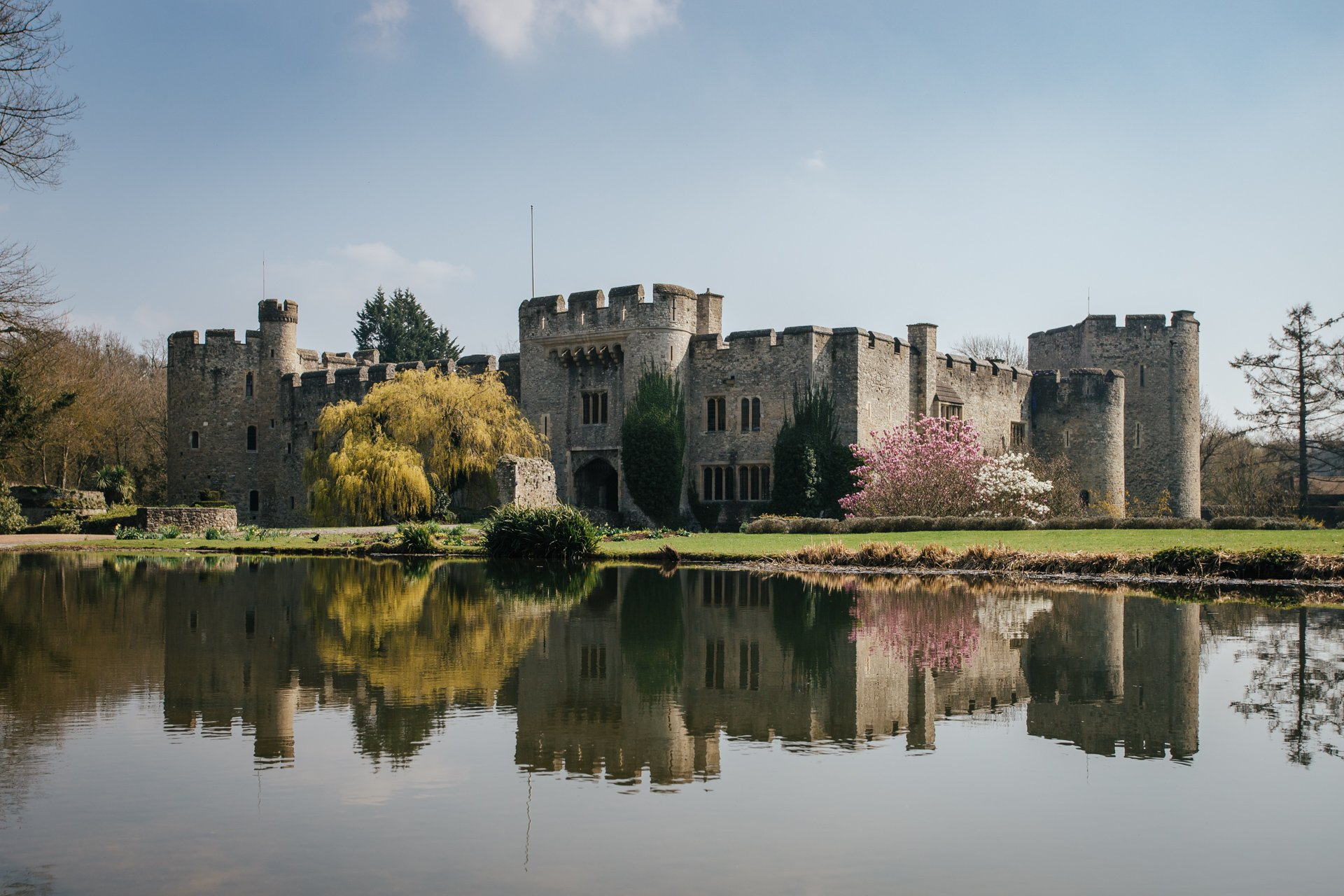 Stunning Allington Castle, Kent wedding venue bathed in spring sunlight