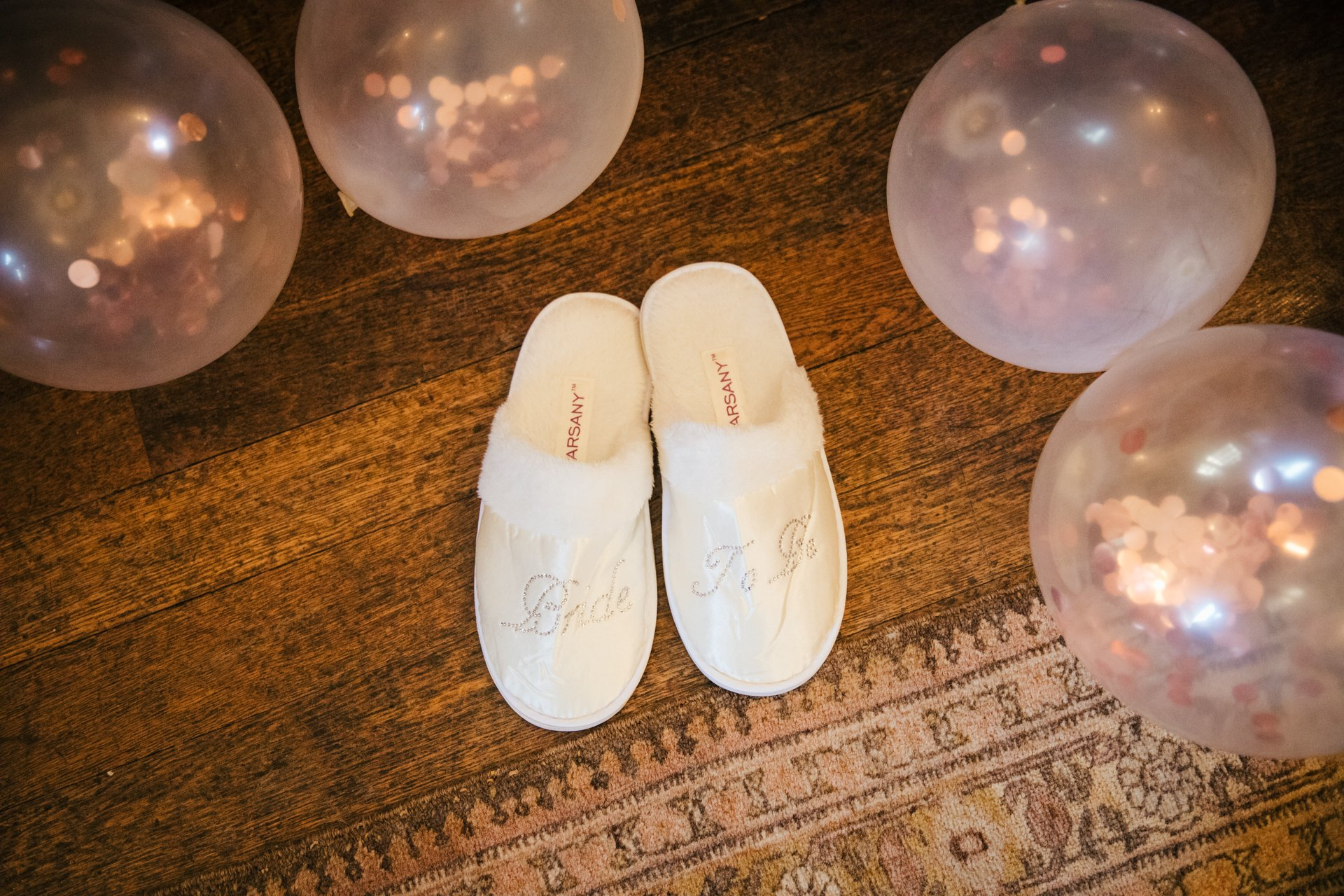 Bride to Be slippers and balloons as the bride gets ready for her wedding