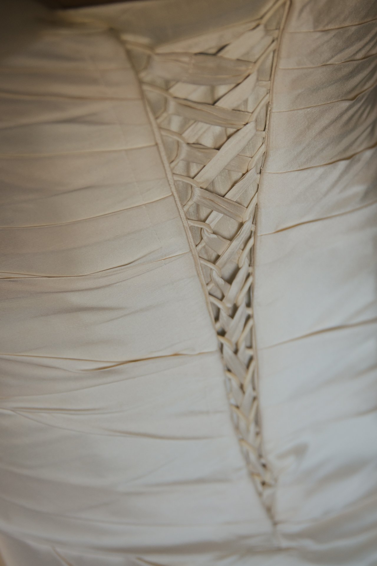 Stunning lace up back of Wedding Dress