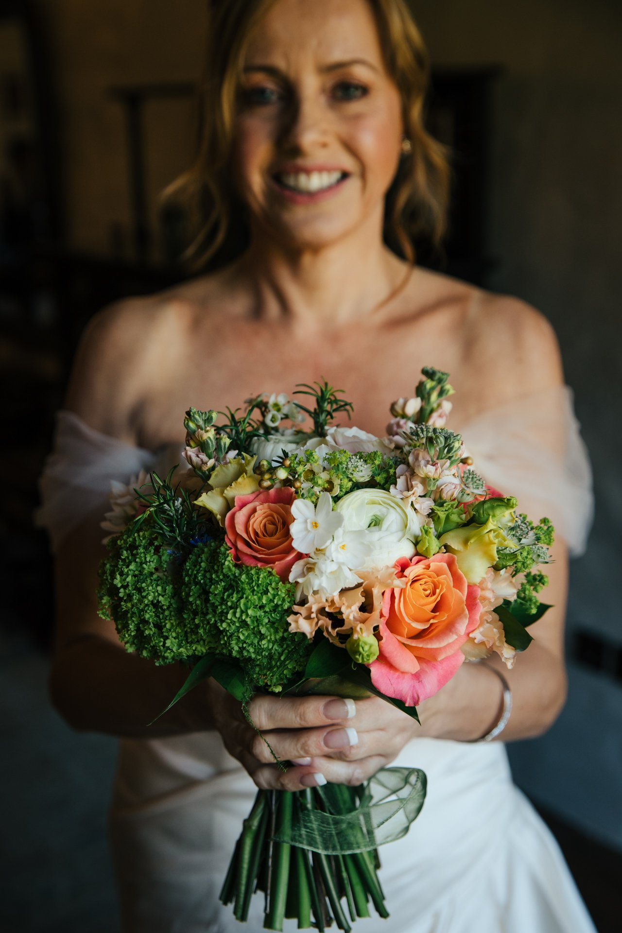 Close up of beautiful bouquet help by Bride before her ceremony