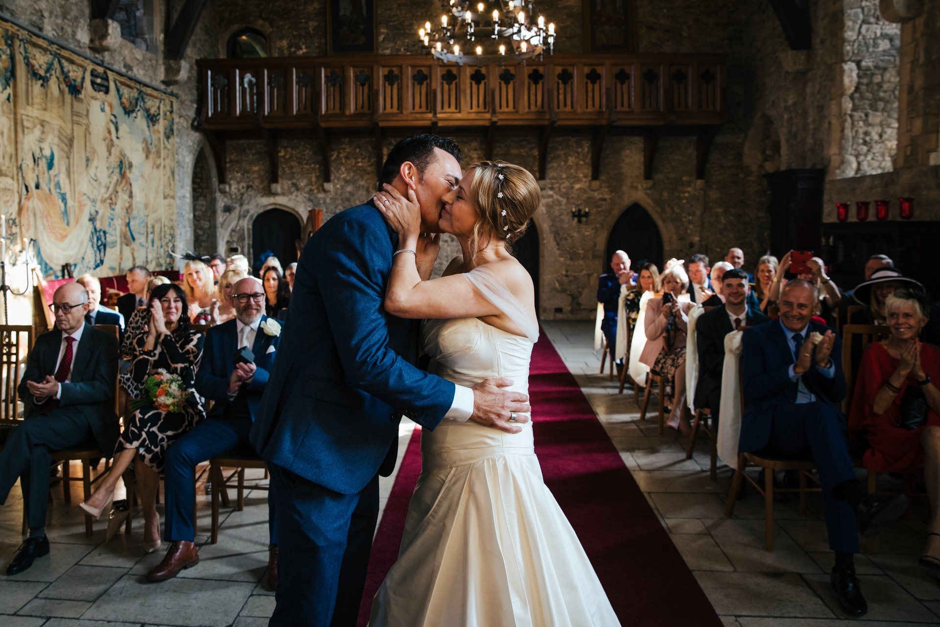 First kiss of Bride and Groom at Allington Castle