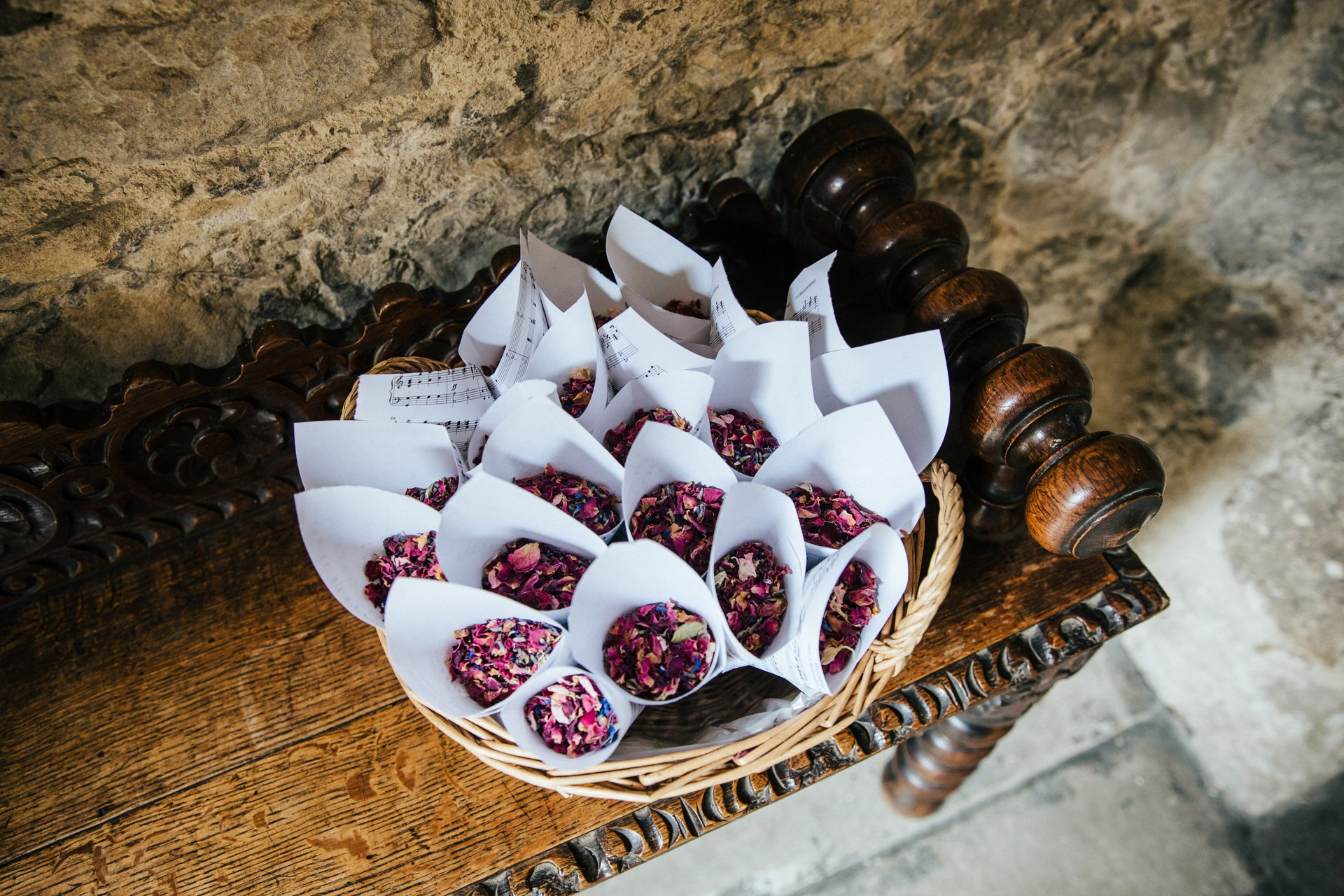 Basket of confetti outside the Great Hall at Allington Castle, kent