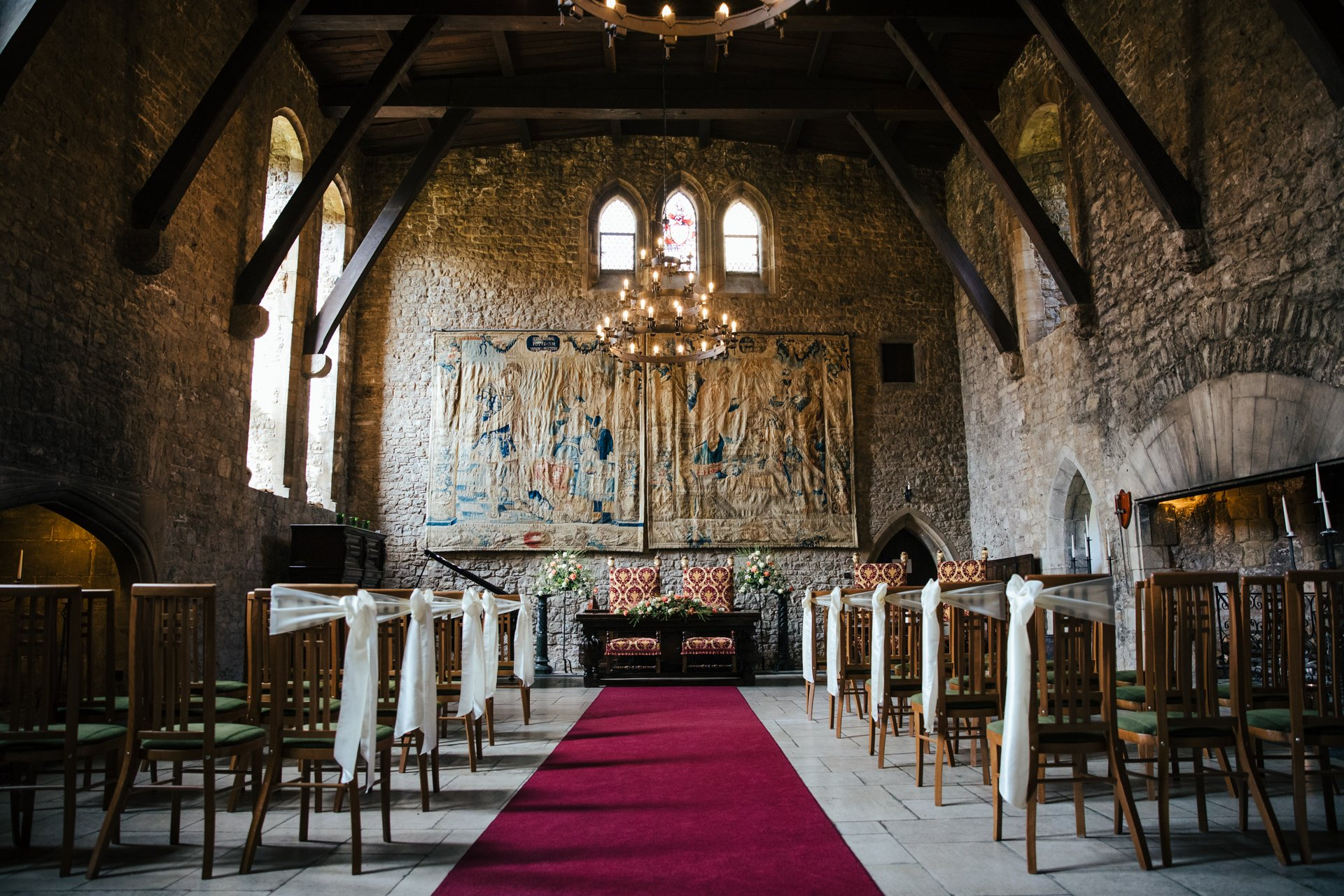 The Great Hall in Allington Castle, Kent Wedding Venue