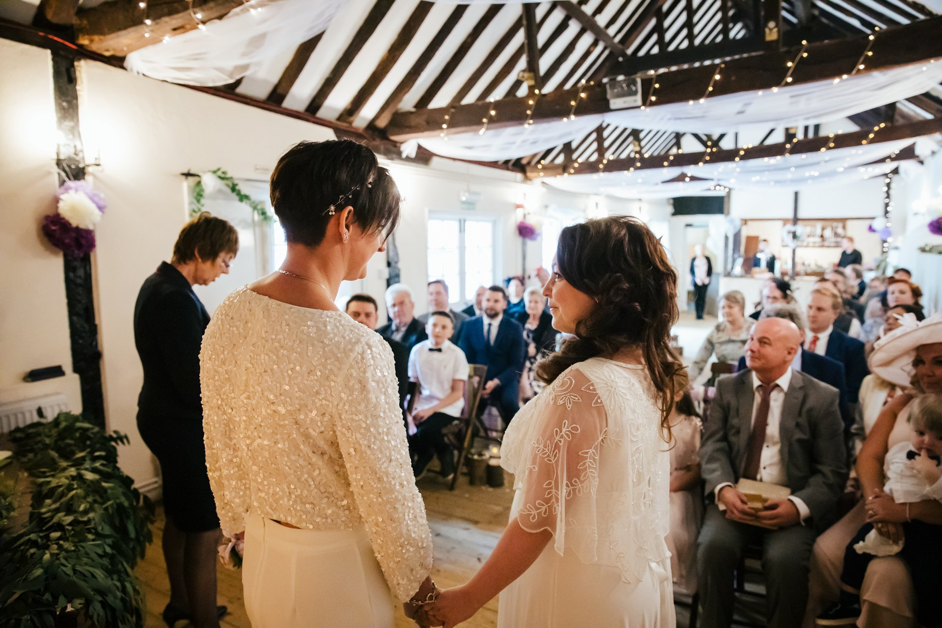 Two Brides together for the wedding ceremony at The Bull Hotel, Kent