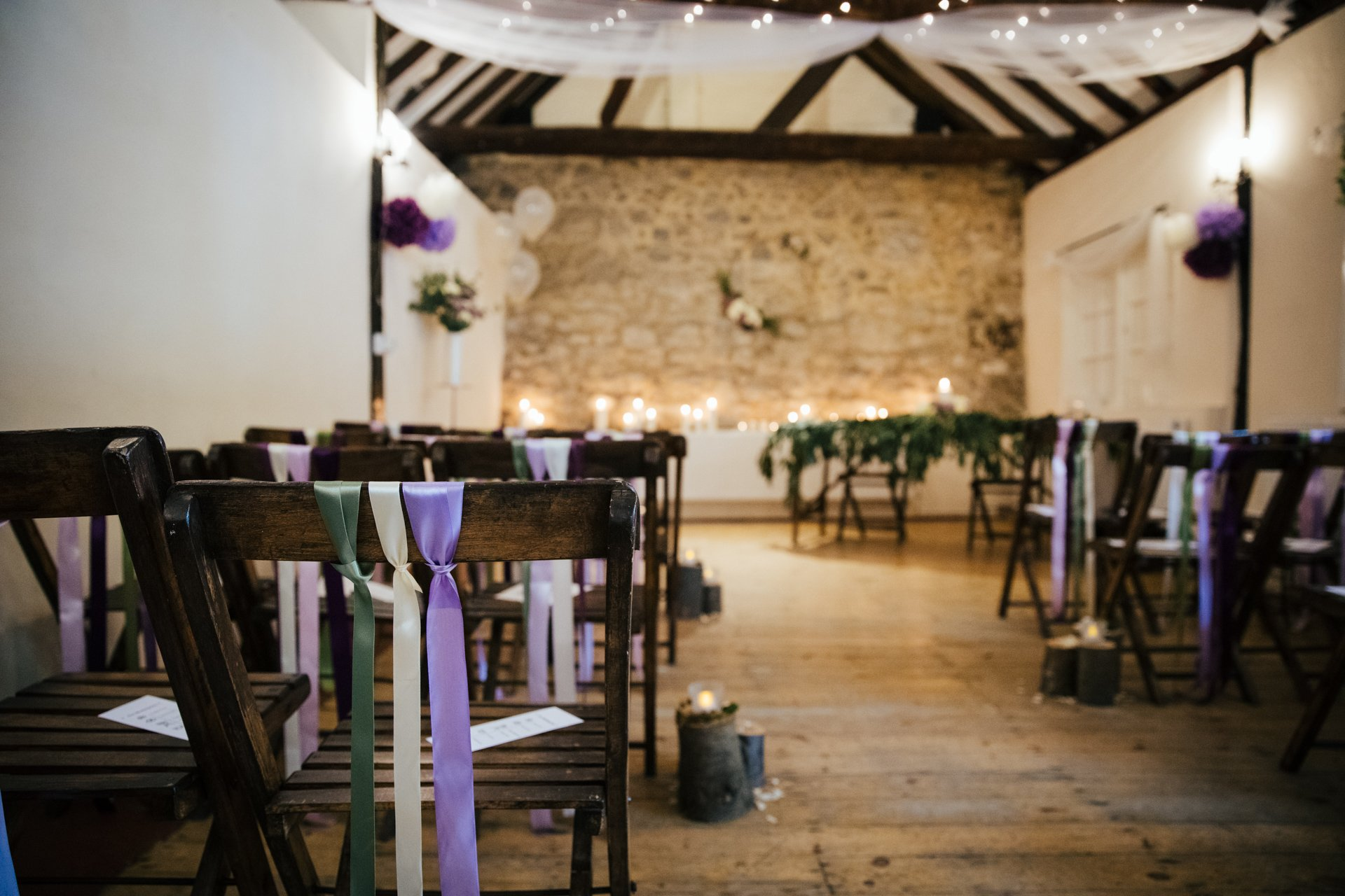 The Buttery, The Bull Hotel, Kent decorated for a rustic wedding