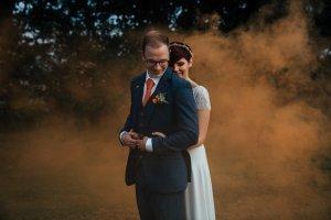 DIY wedding couple in smoke bomb portrait