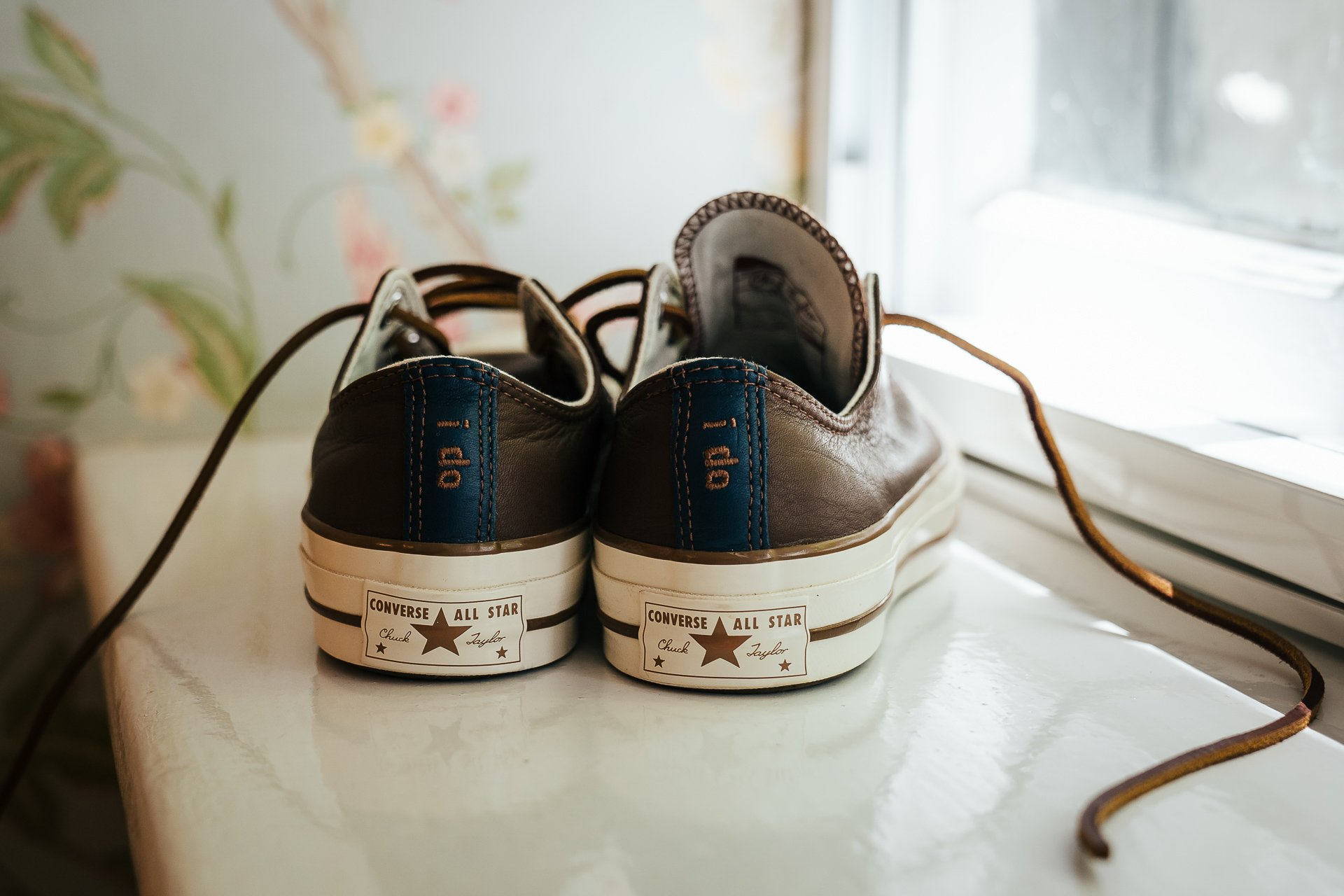 Personalised converse wedding shoes with 'I do' on the heel