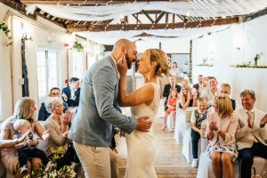 Couple share their first kiss during their wedding at The Bull Wrotham Kent
