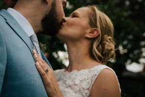 Beautiful Bride and Groom kissing after their Kent Wedding Ceremony