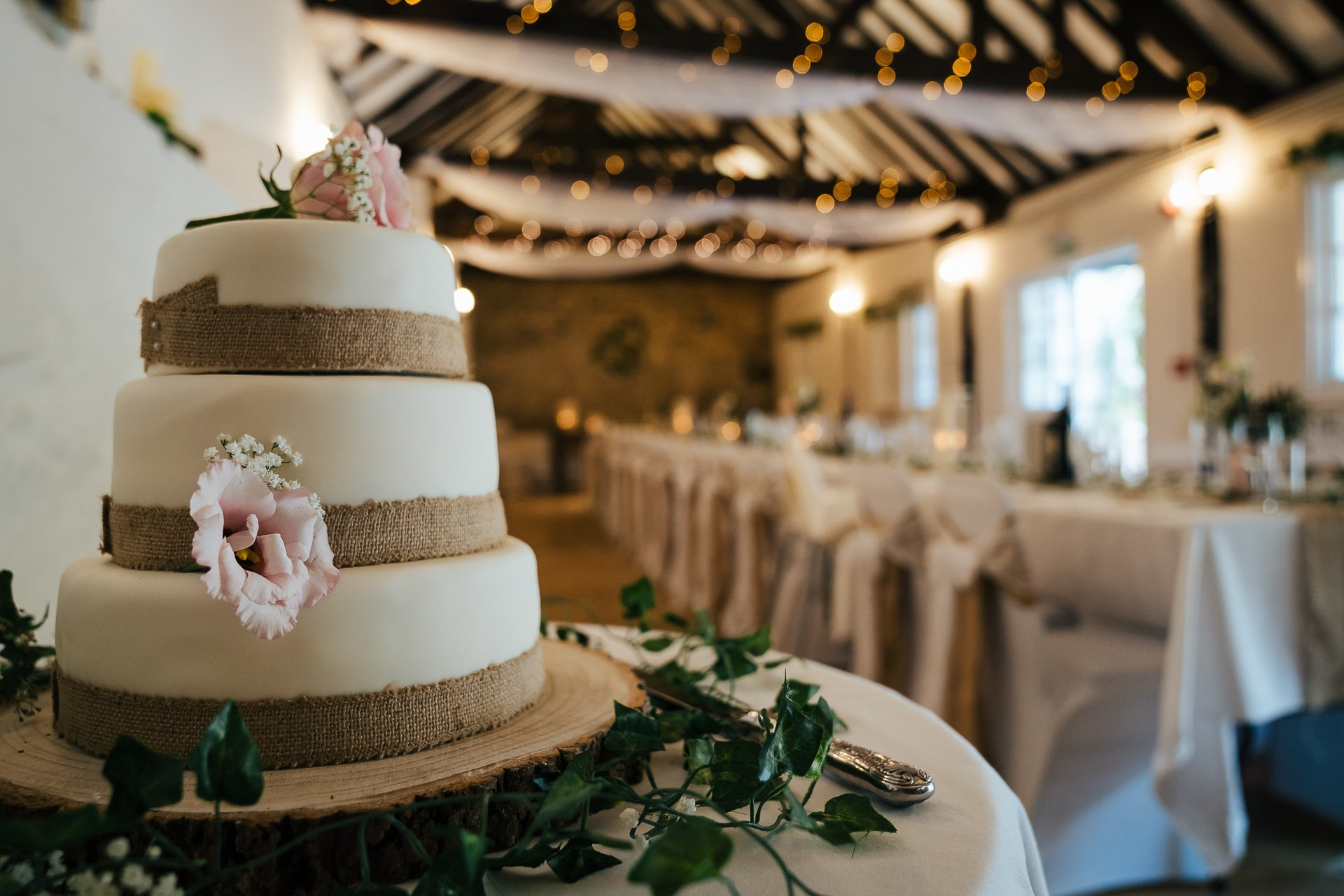 Wedding cake and wedding breakfast take set for intimate wedding at The Bull Hotel