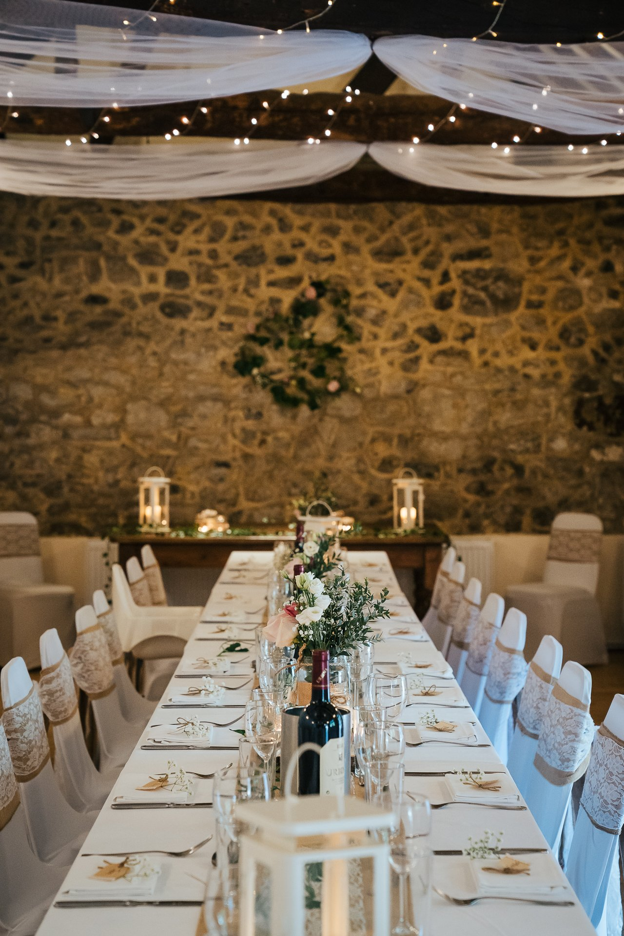 Gorgeous smile rustic table setting for intimate wedding at the Bull Hotel