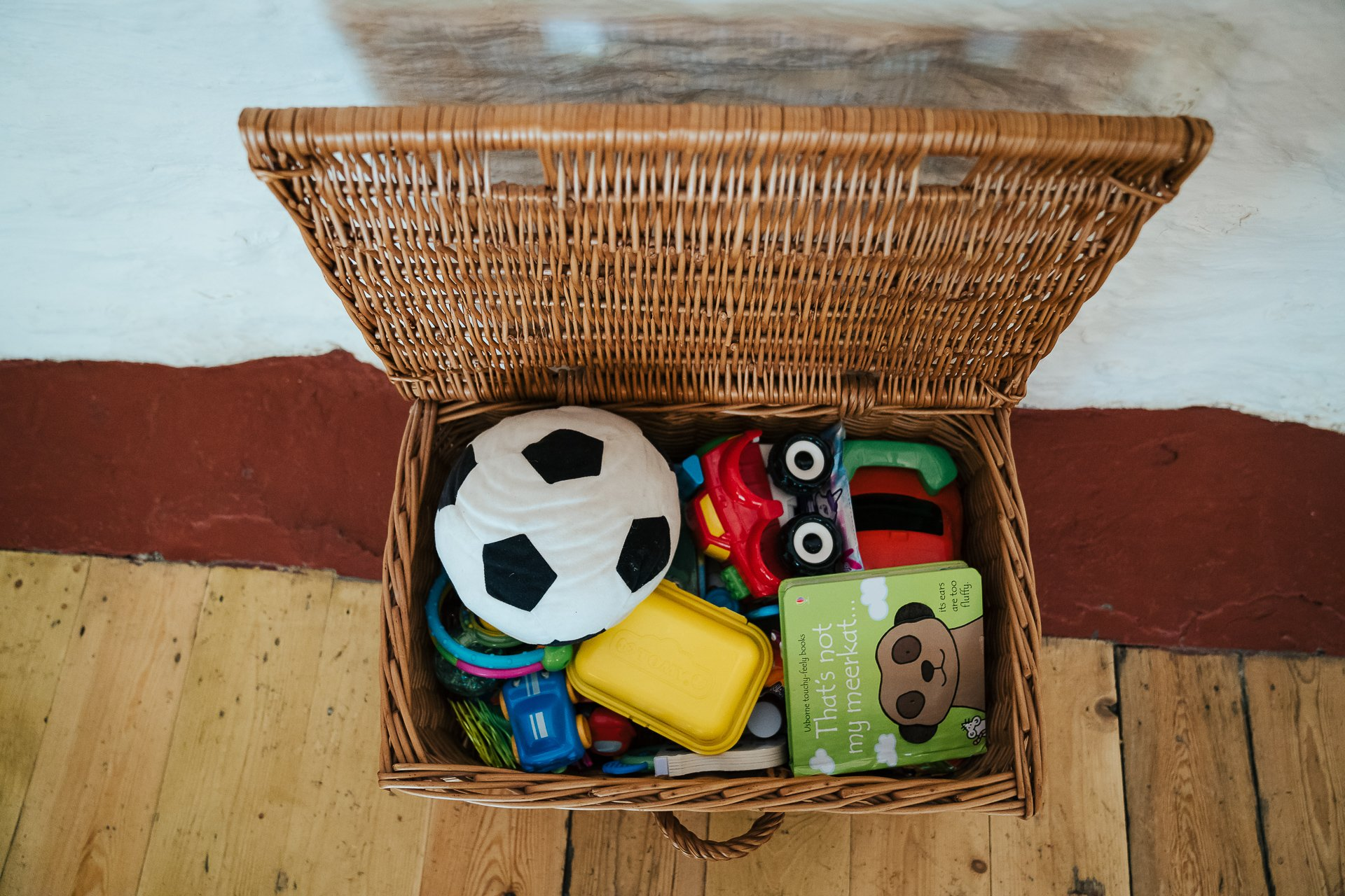 Box of toys for children during the wedding ceremony