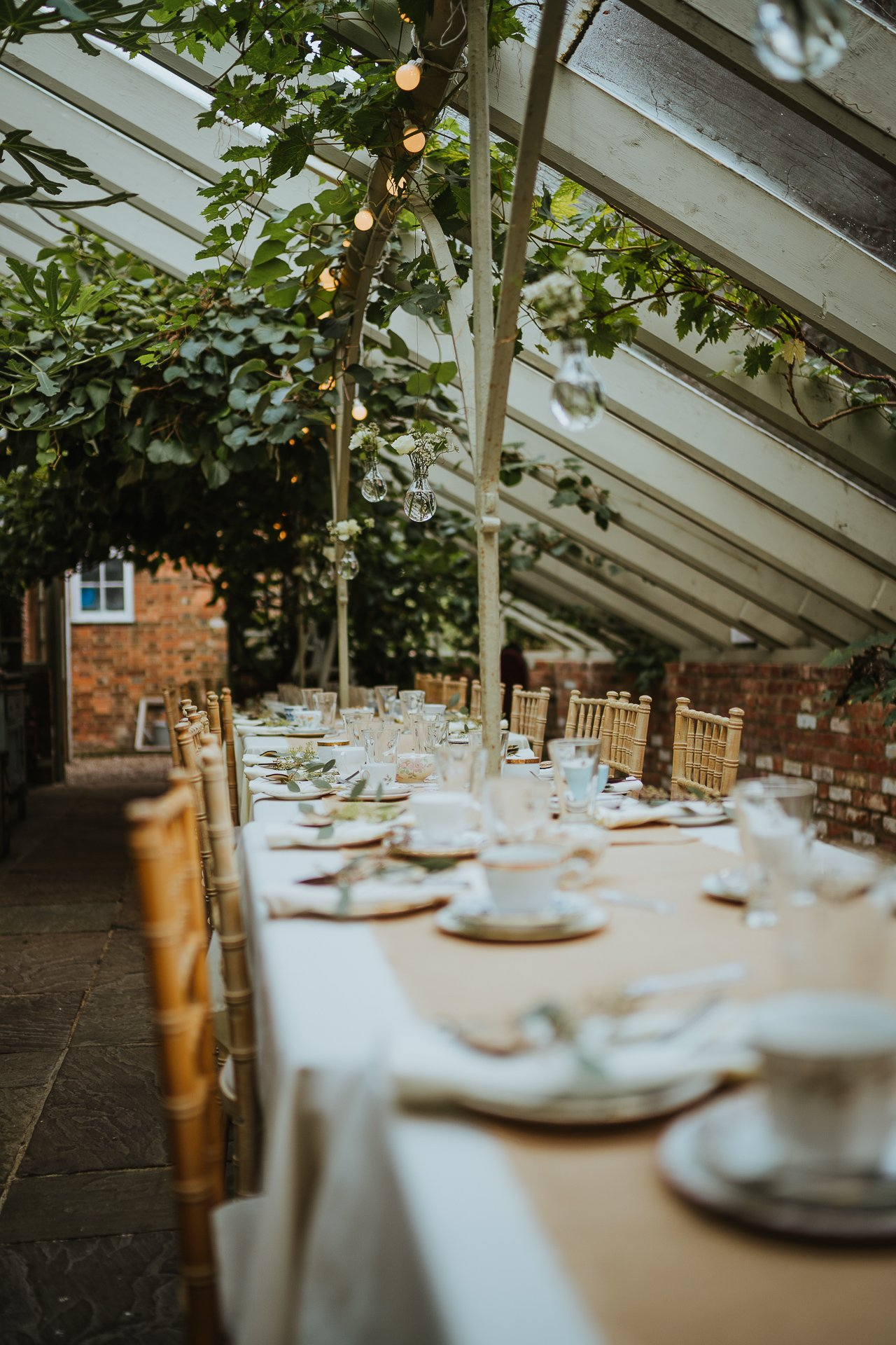 The Glasshouse at The Secret Garden dressed for a wedding