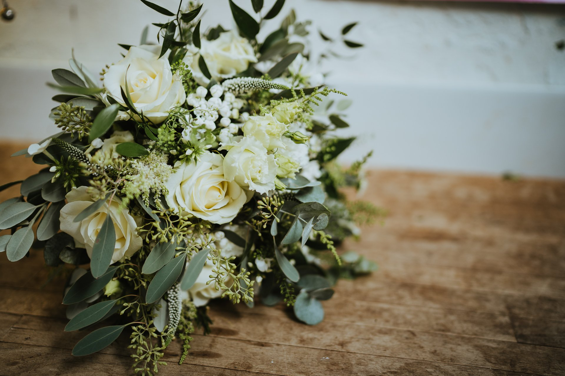 Beautifully textured green and white bridal bouquet