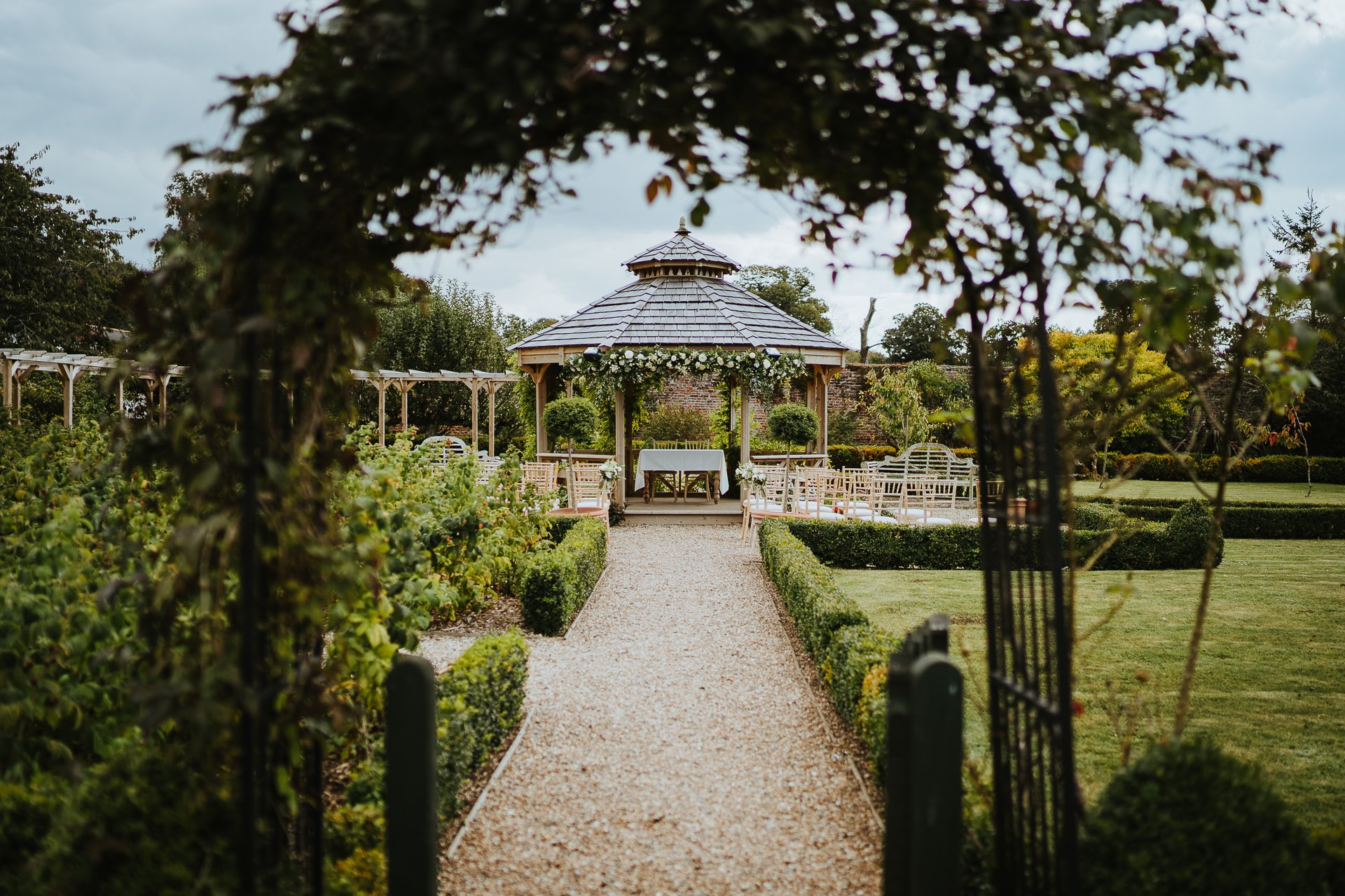 Wedding ceremony gazebo at The Secret Garden, Kent