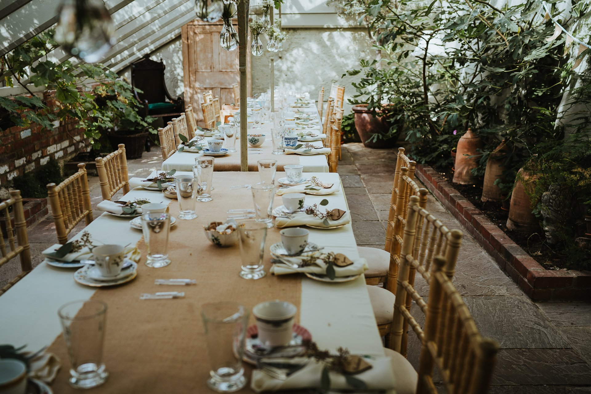 The Glasshouse at The Secret Garden decorated for a wedding breakfast