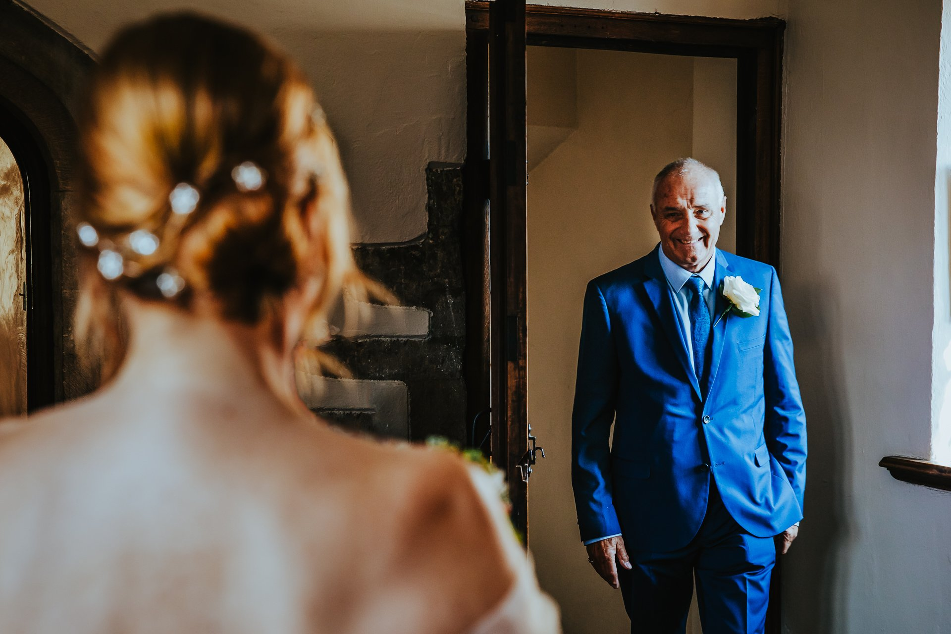 Father smiles as he sees daughter for the first time on her wedding day Kent