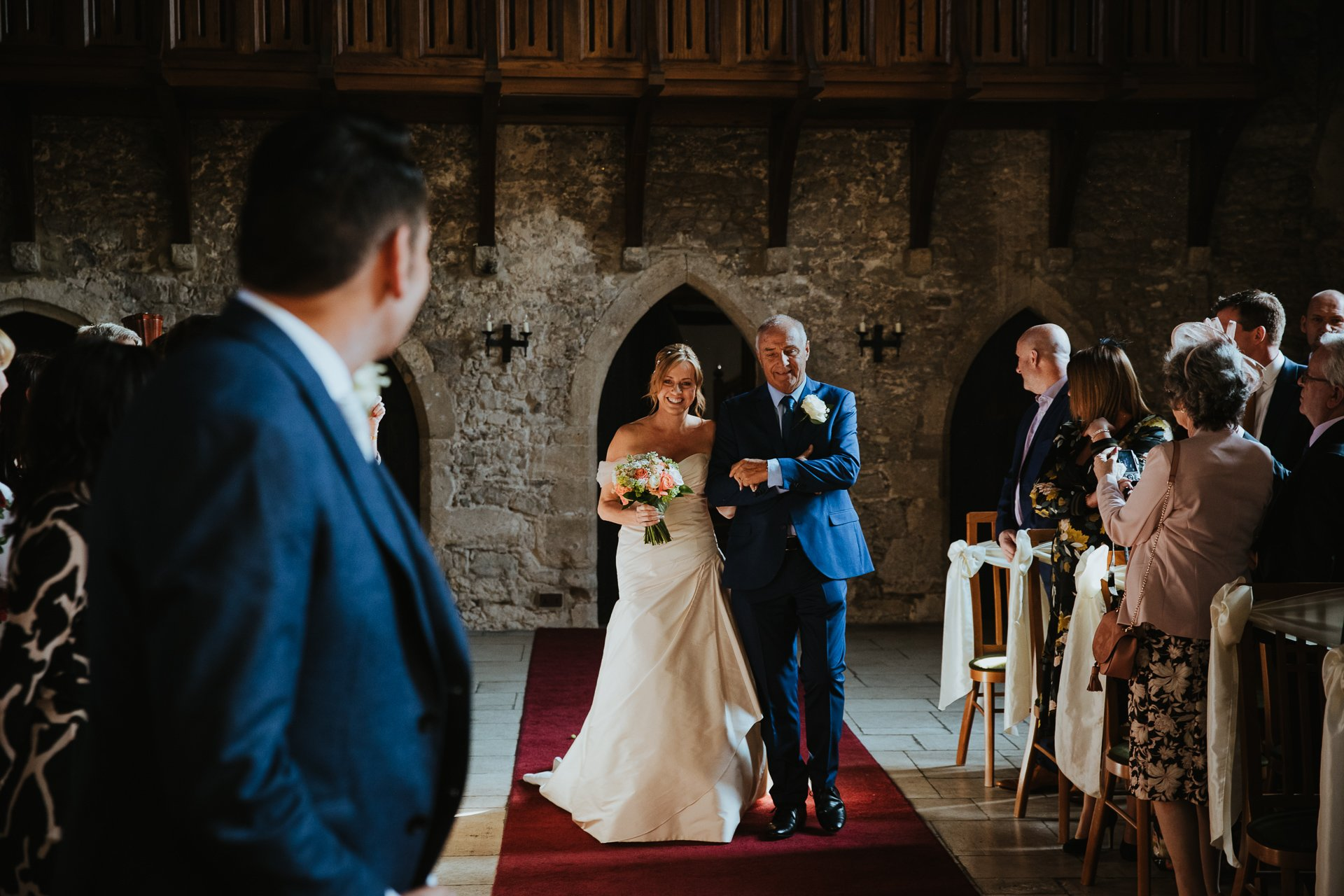 Groom sees Bride for the first time as she walks in to Allington Castle Kent