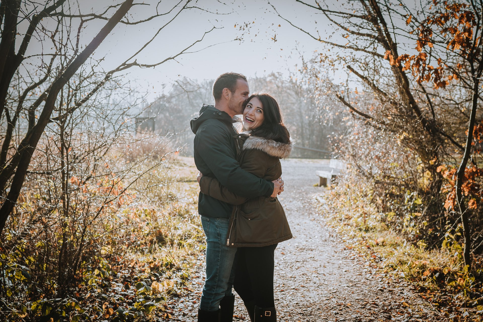 Couple kissing each other at their pre Kent photography session