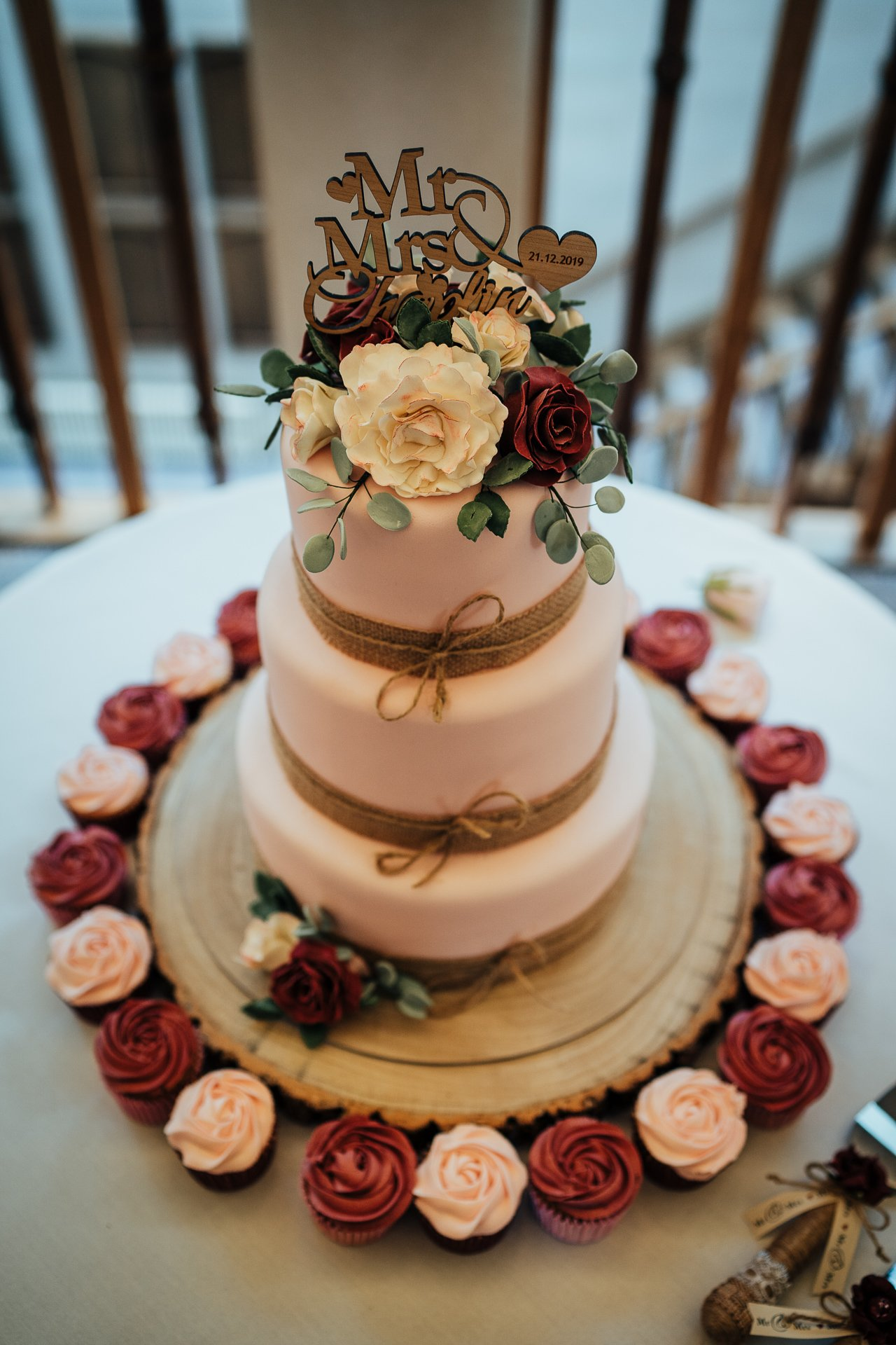 Burgundy and Blush 3 tier wedding cake with wooden cake topper