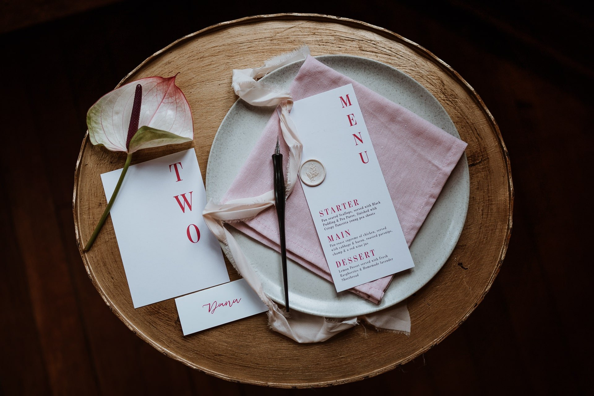 Pink and white wedding stationary Flatlay
