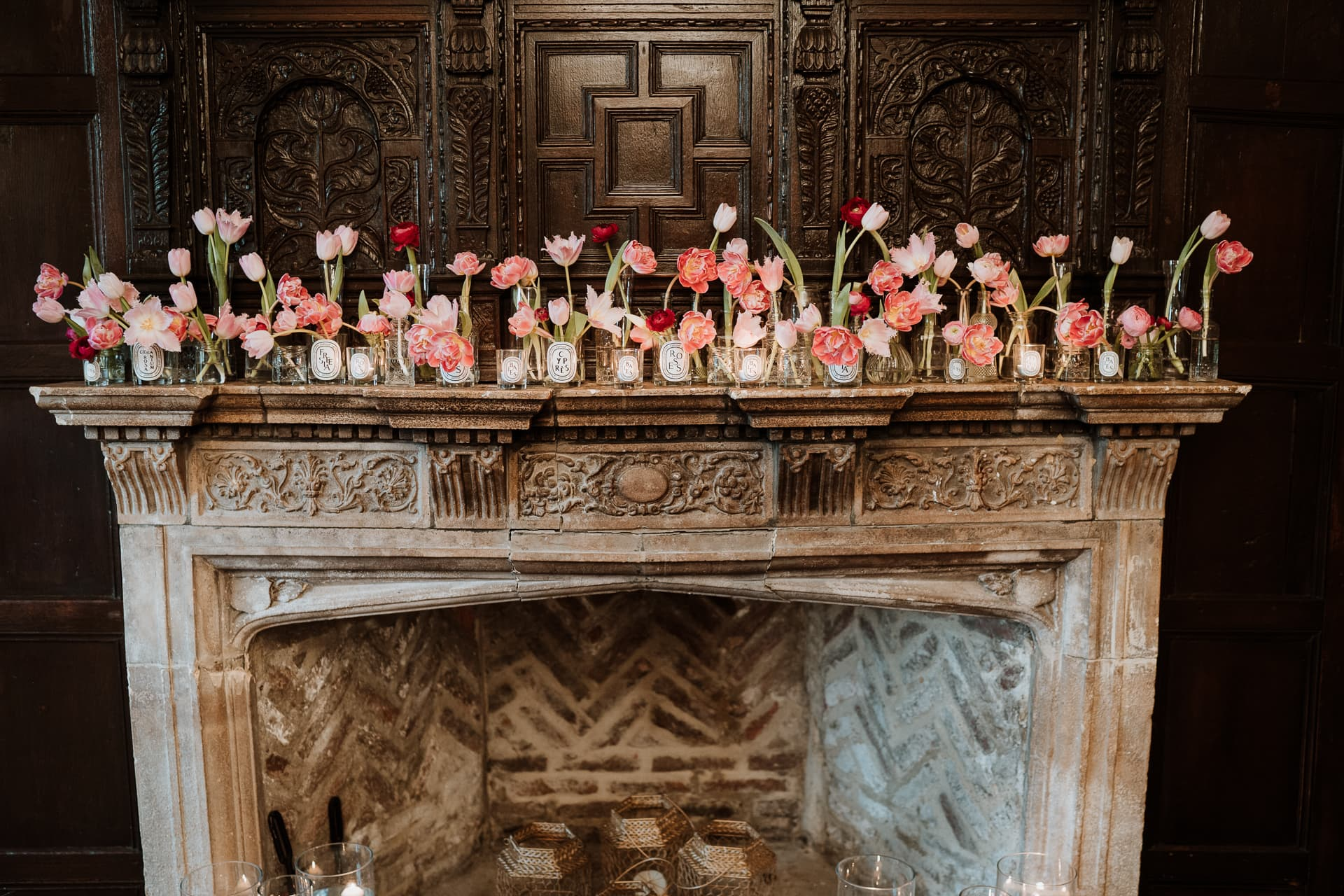 Bishop of Bayeux Fireplace at Eastwell Manor with tulip floral decoration