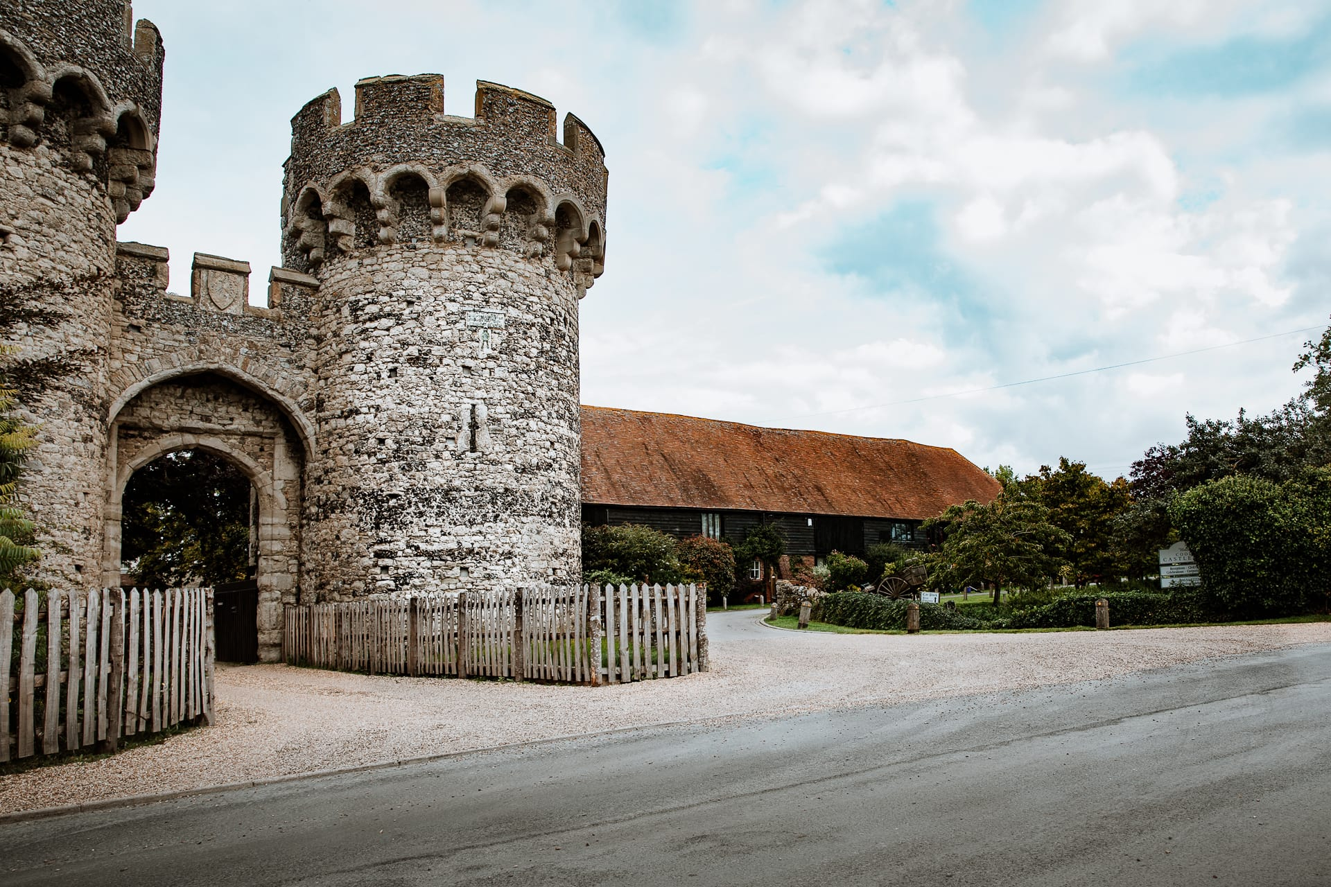 The entrance to Cooling Castle Barn, Kent Wedding venue