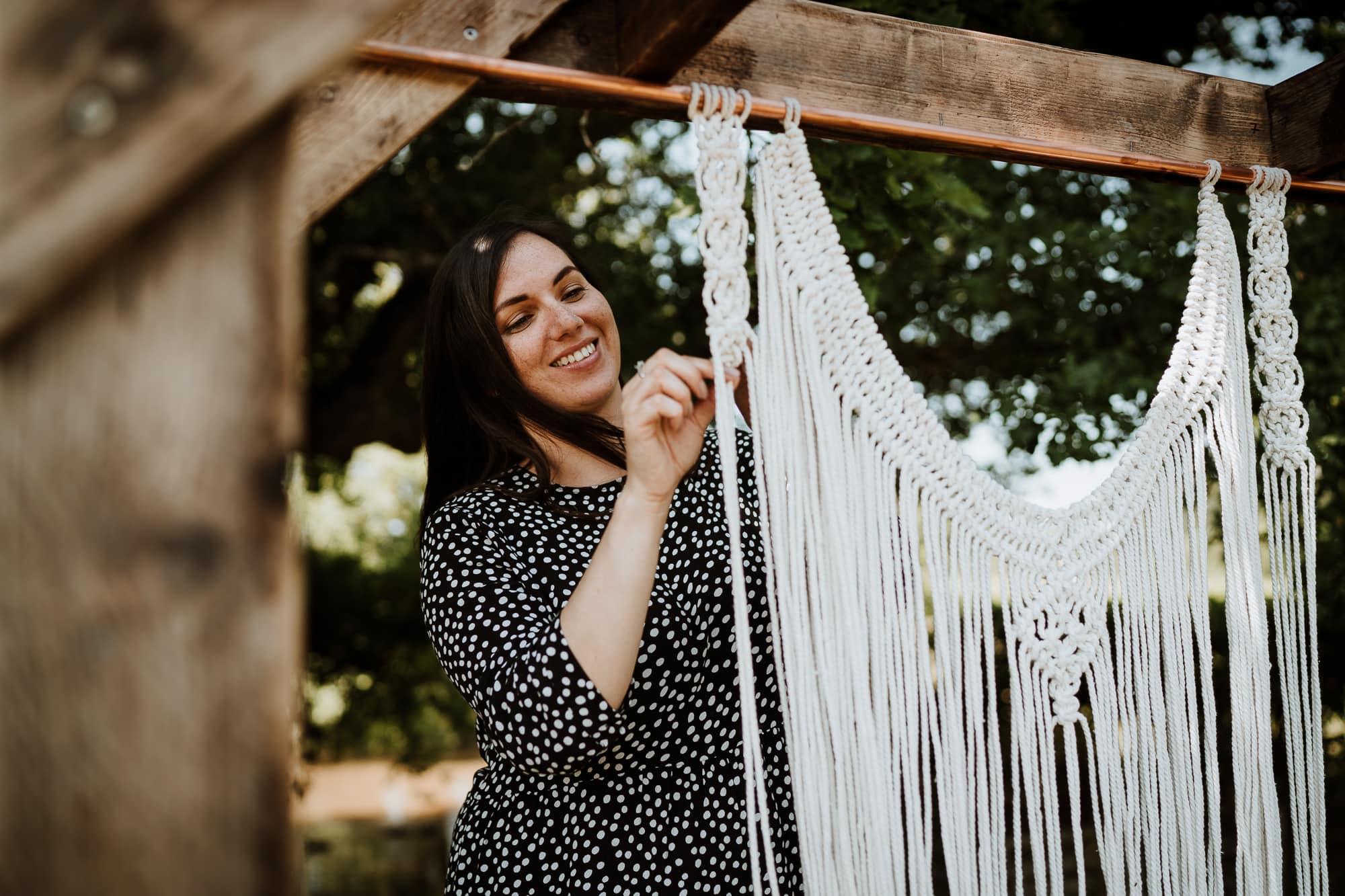 kent wedding supplier making a macrame backdrop