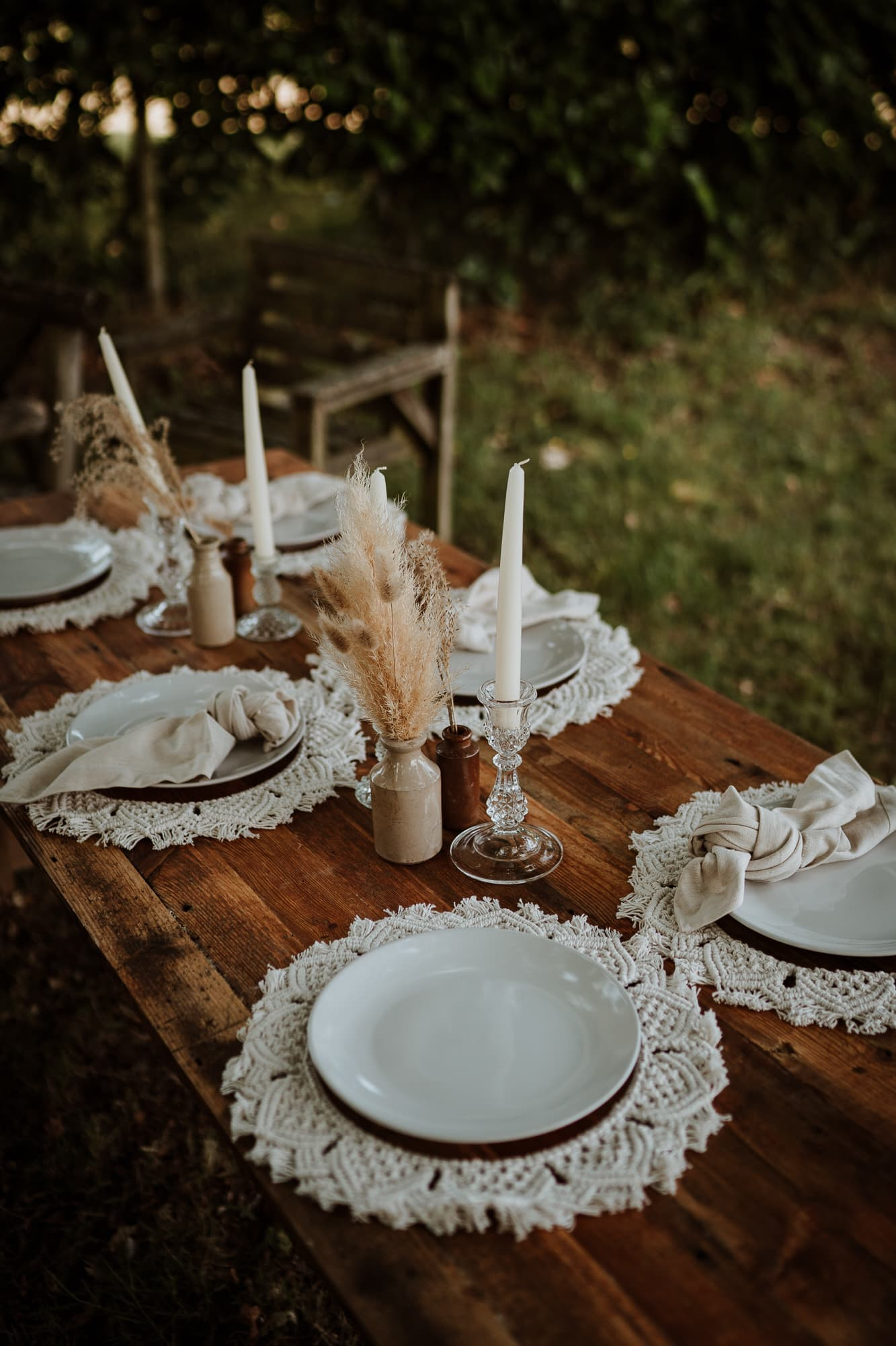 rustic wedding table setting with macrame table decorations