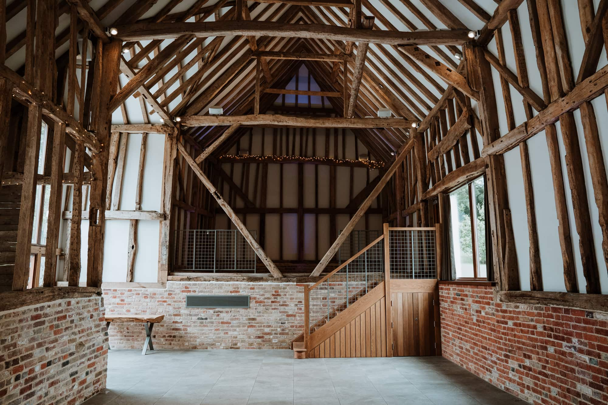 The interior vaulted roof of the Oak Barn