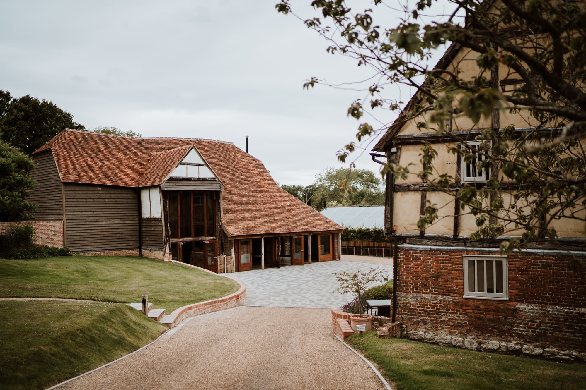 View of The Oak Barn and Weavers Cottages from the driveway