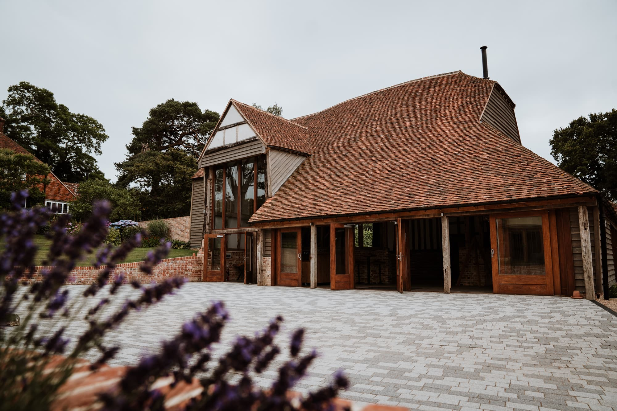 Front of the The Oak Barn viewed through lavender