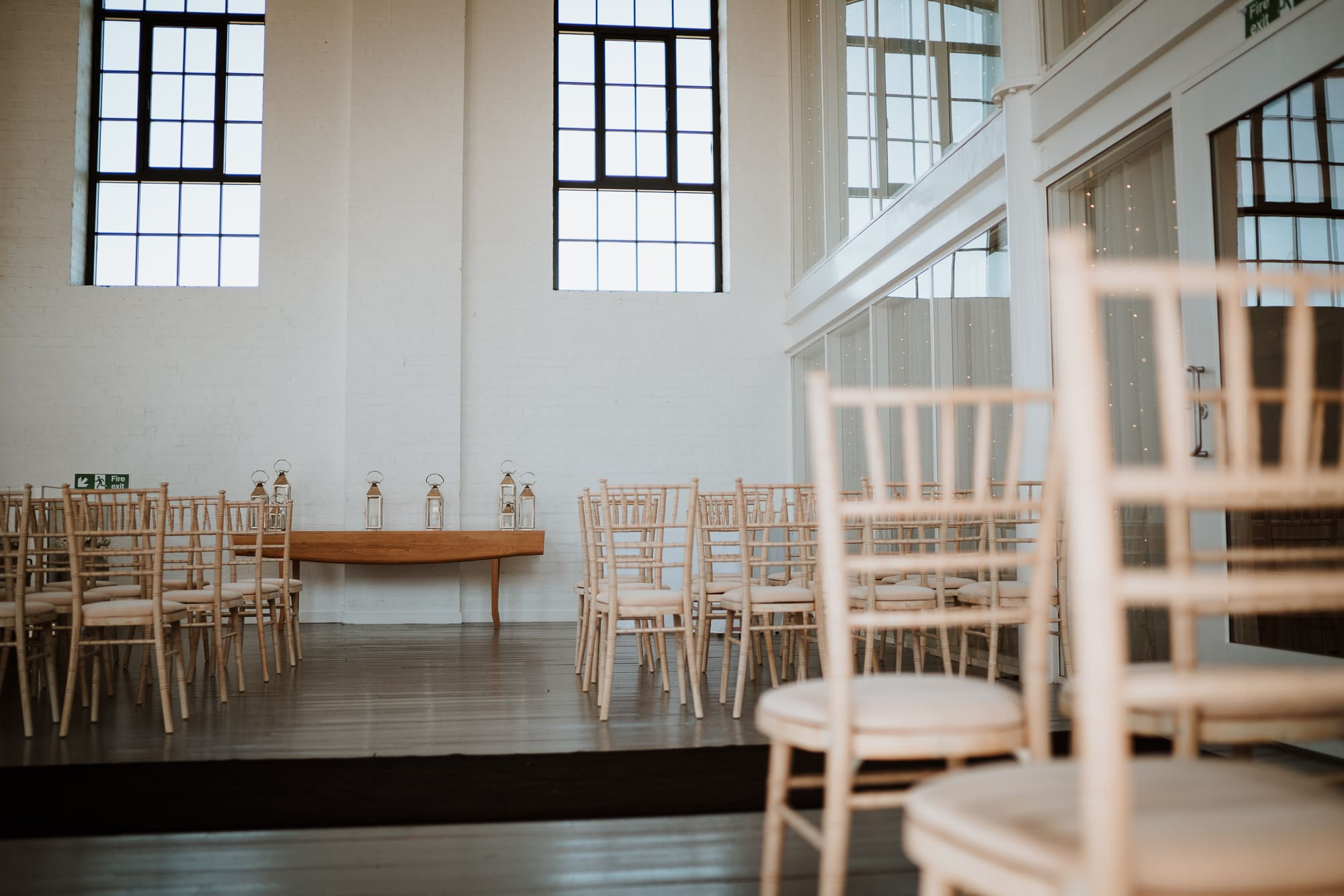 The bright ceremony room at The Winding House, Kent Wedding Venue